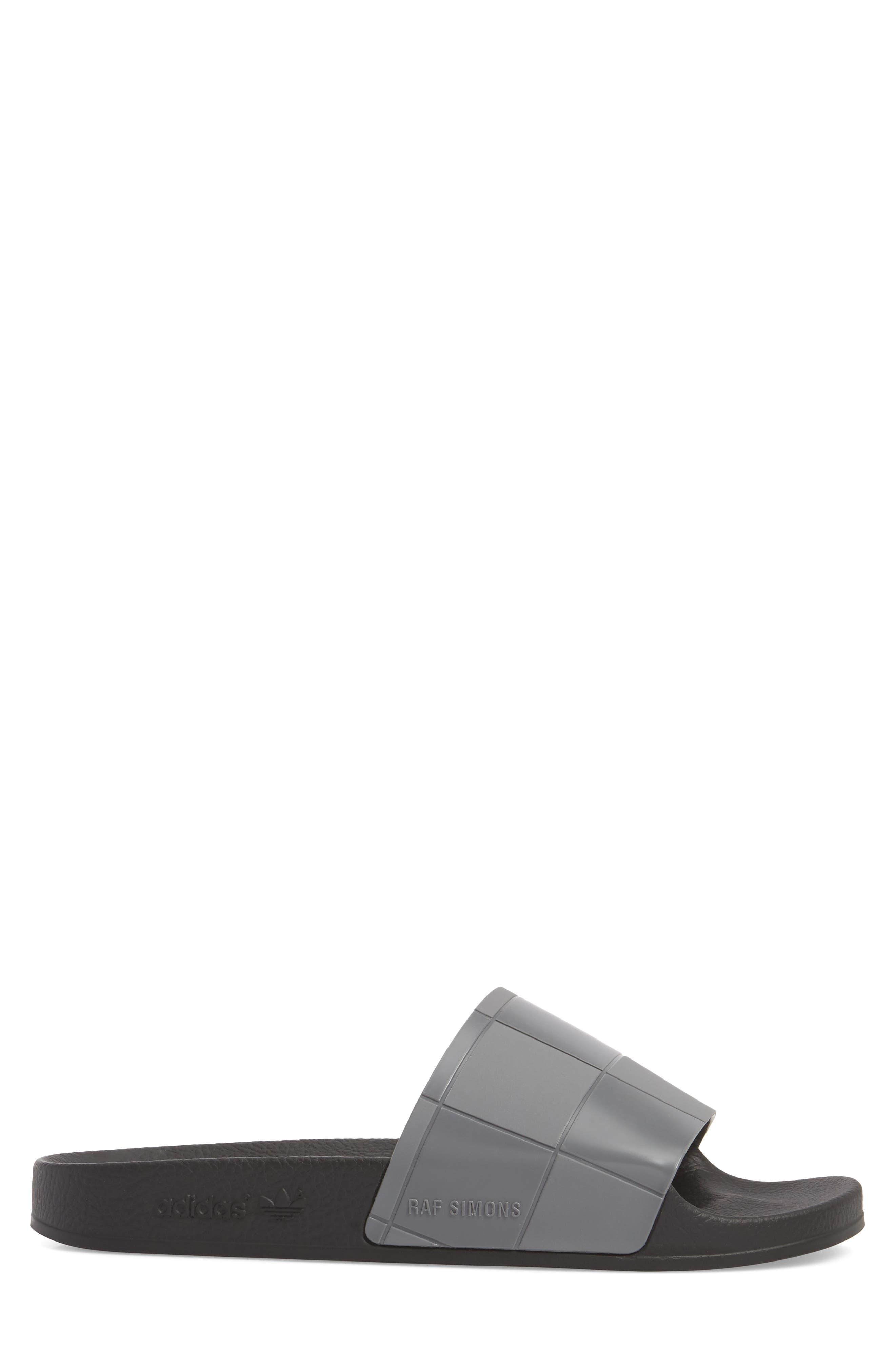 Adilette Checkerboard Sport Slide,                             Alternate thumbnail 3, color,                             Core Black/ Granite