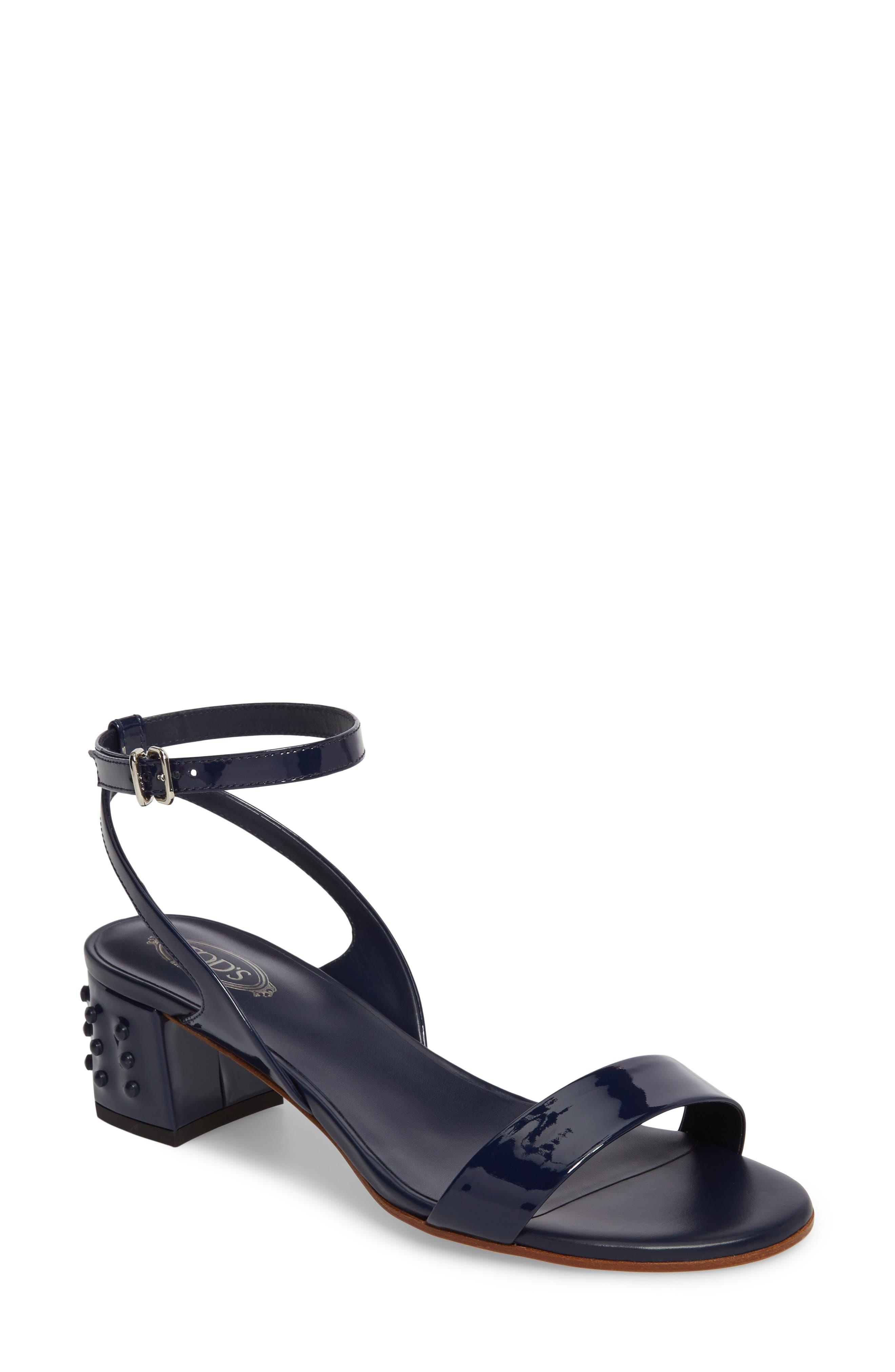 Gommini Block Heel Sandal,                             Main thumbnail 1, color,                             Navy