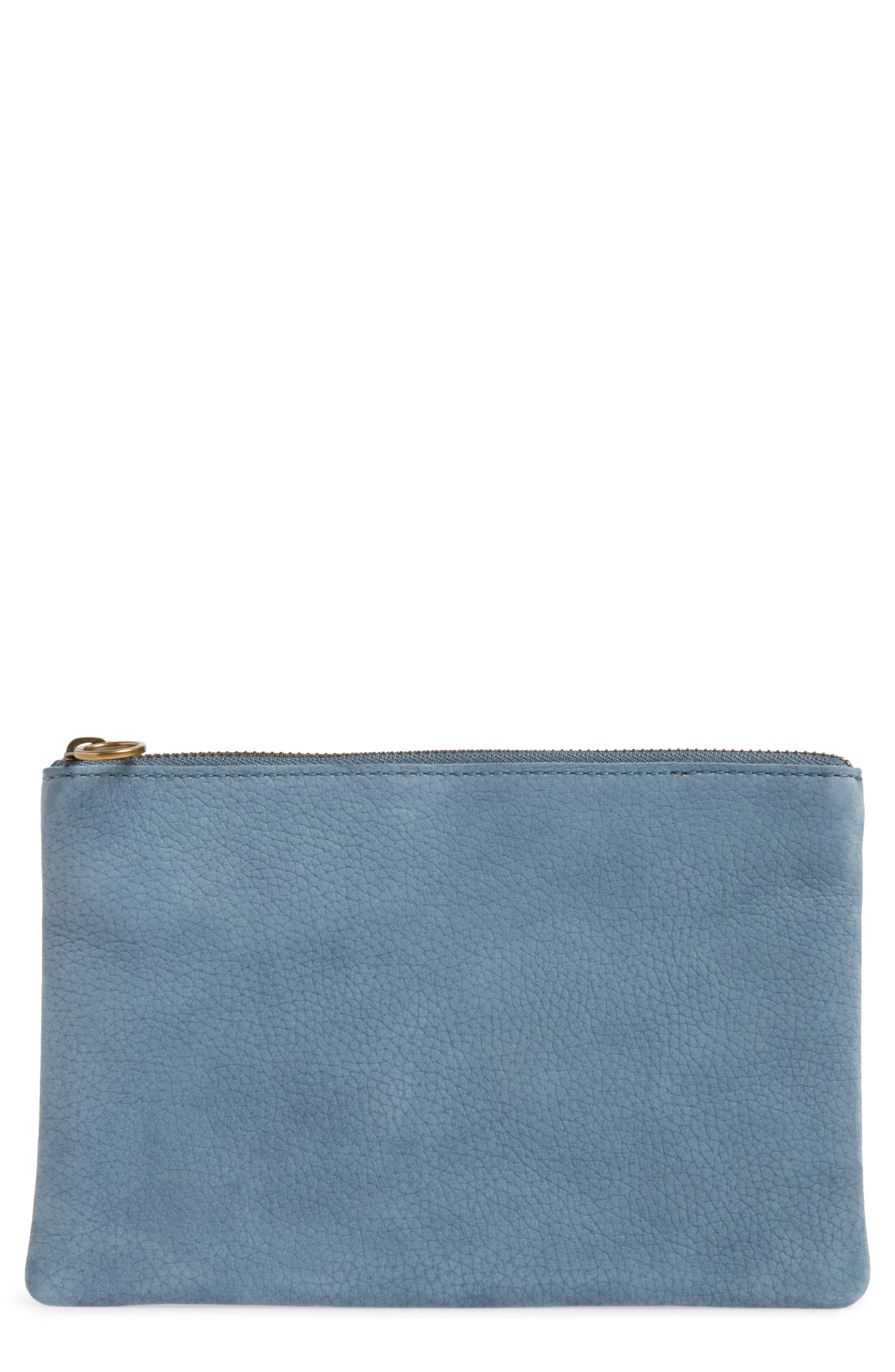 The Leather Pouch Clutch,                             Main thumbnail 1, color,                             Deep River