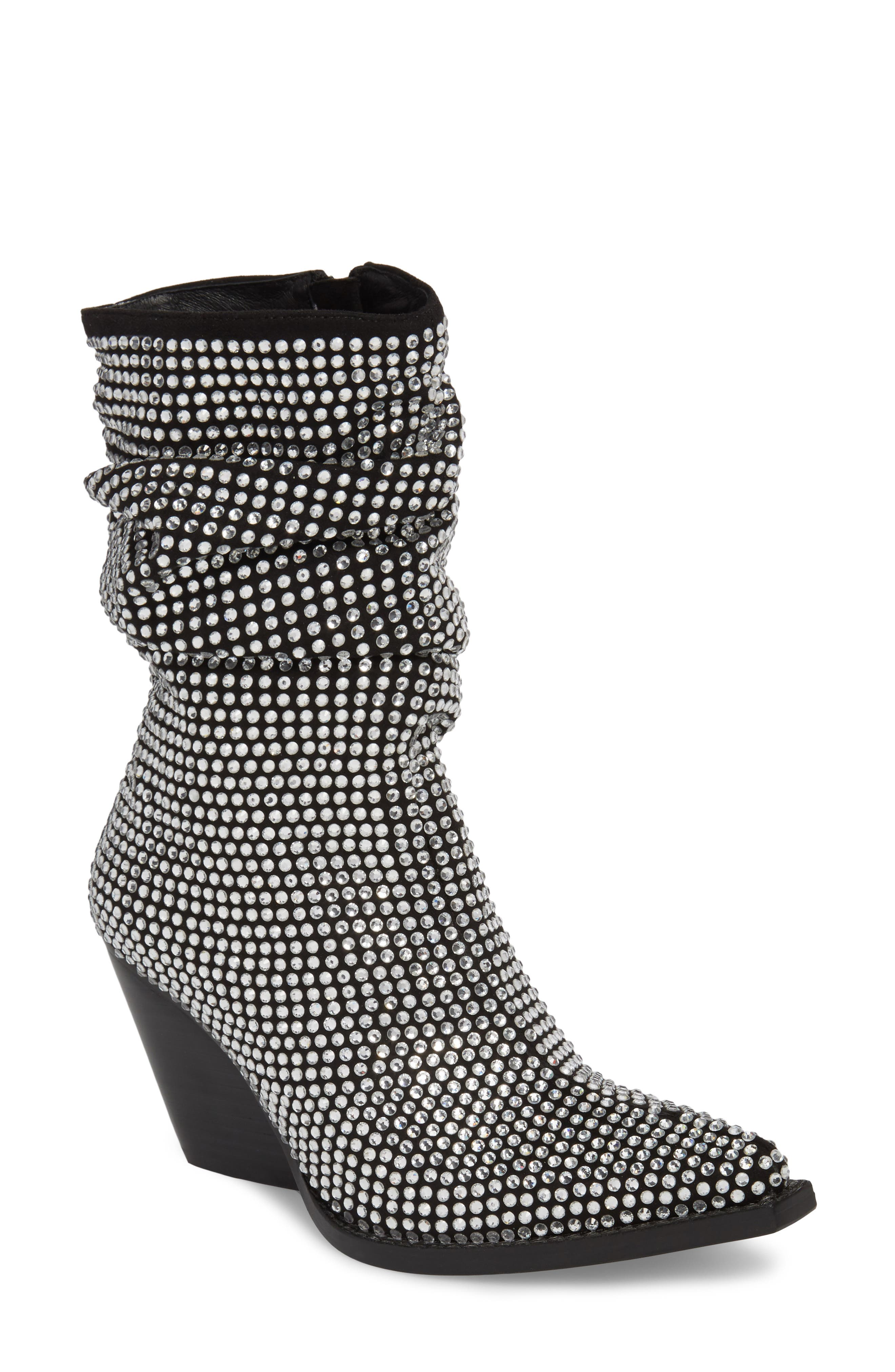 Controll Crystal Studded Slouch Boot,                         Main,                         color, Black Suede Silver