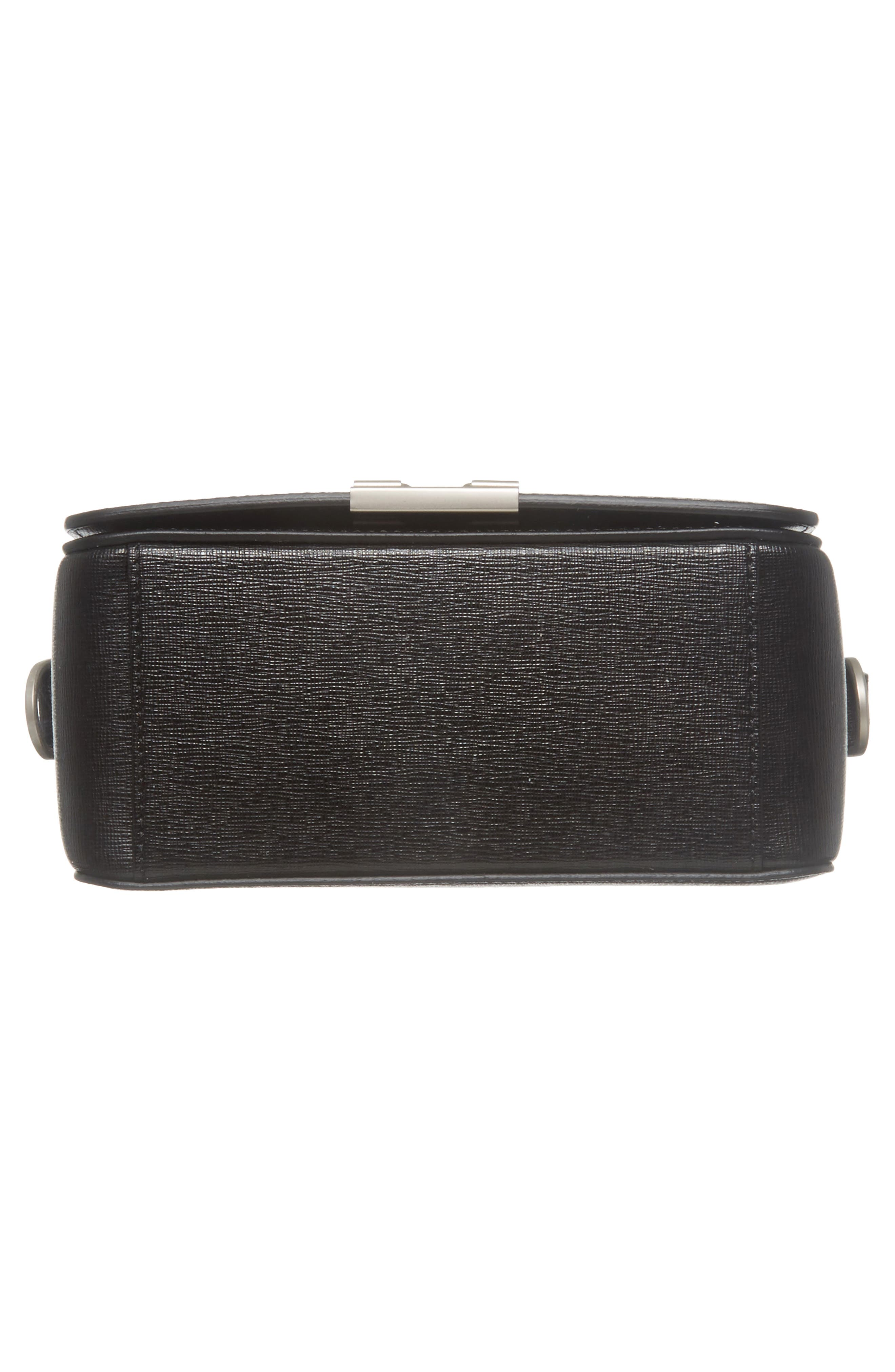 Virgil Was Here Binder Clip Leather Shoulder Bag,                             Alternate thumbnail 7, color,                             Black White