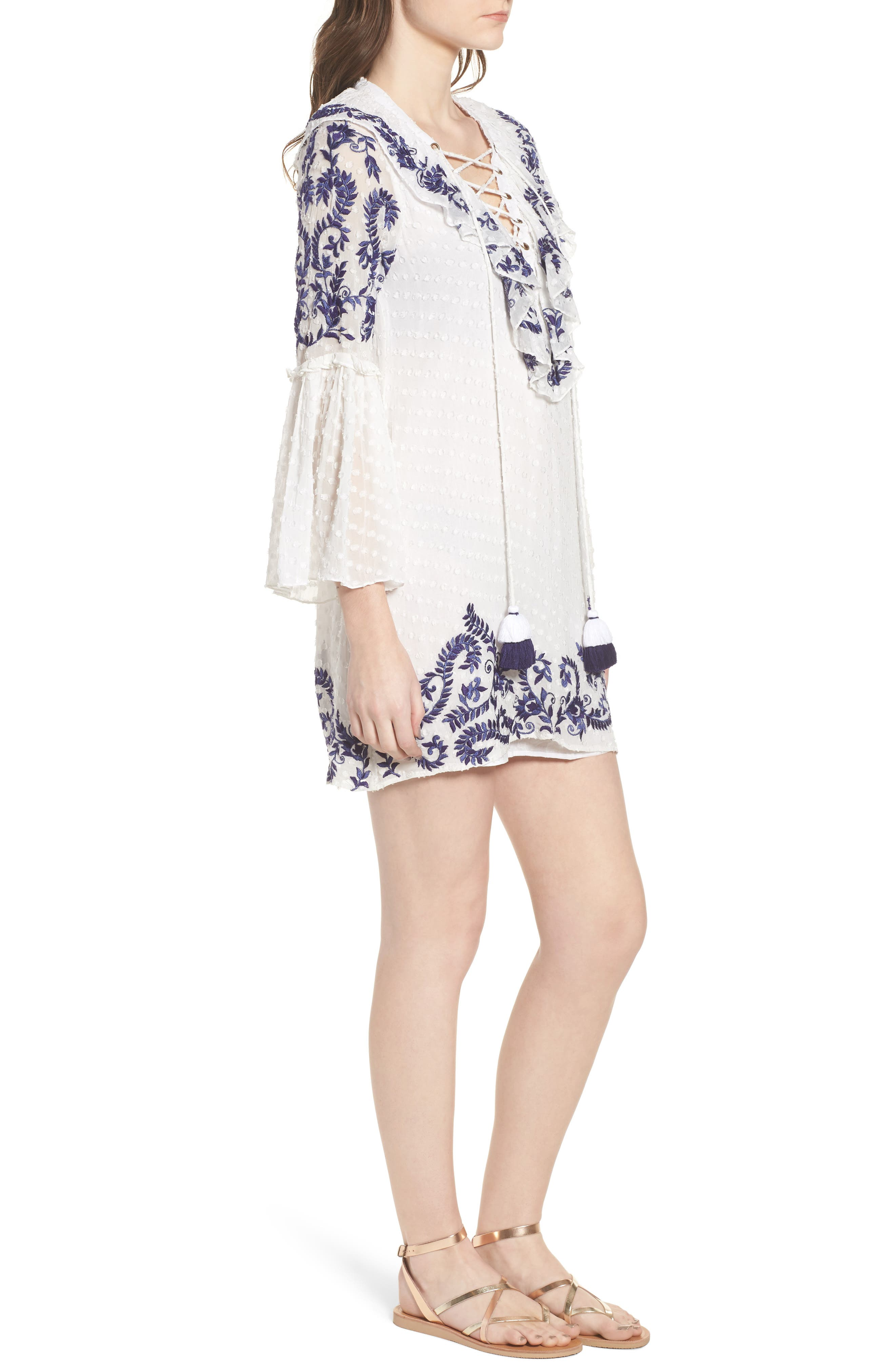 Cyrielle Embroidered Dress,                             Alternate thumbnail 3, color,                             White