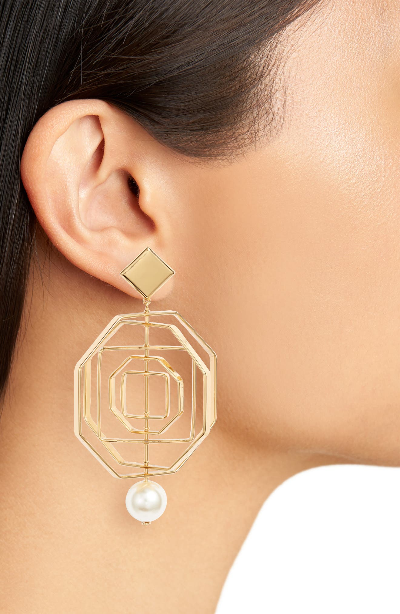 Geo Imitation Pearl Statement Earrings,                             Alternate thumbnail 2, color,                             Tory Gold