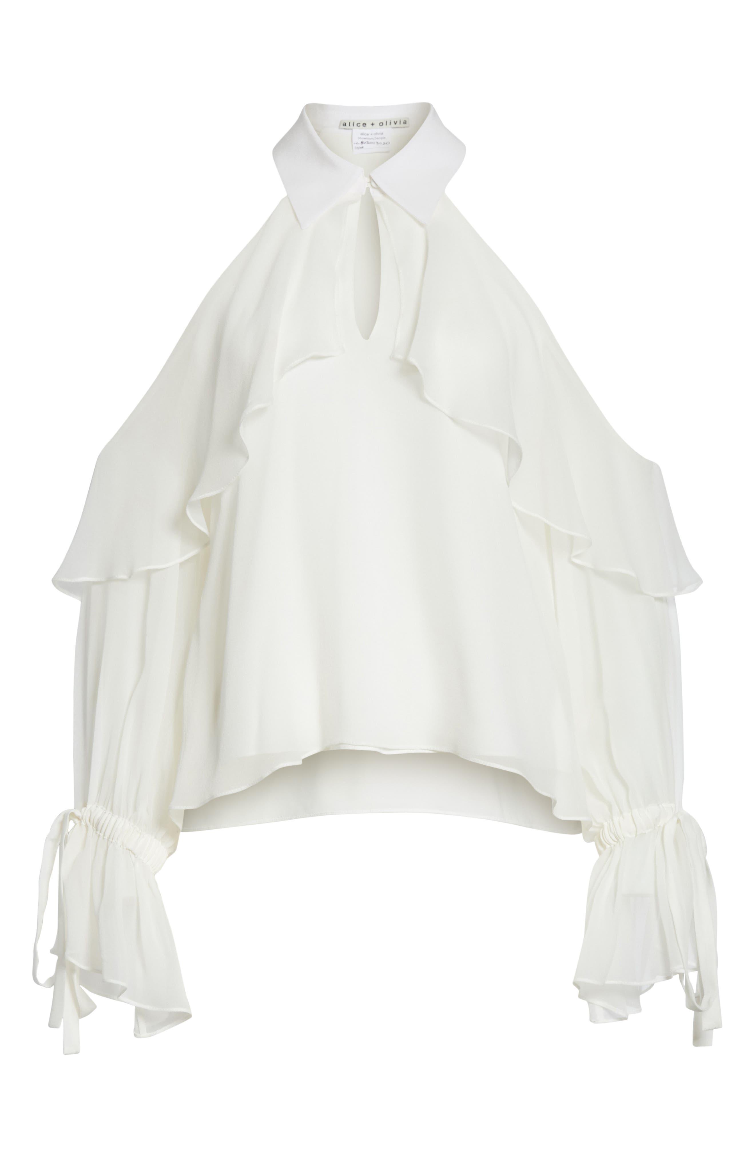 Blayne Cold Shoulder Silk Blouse,                             Alternate thumbnail 6, color,                             Off White