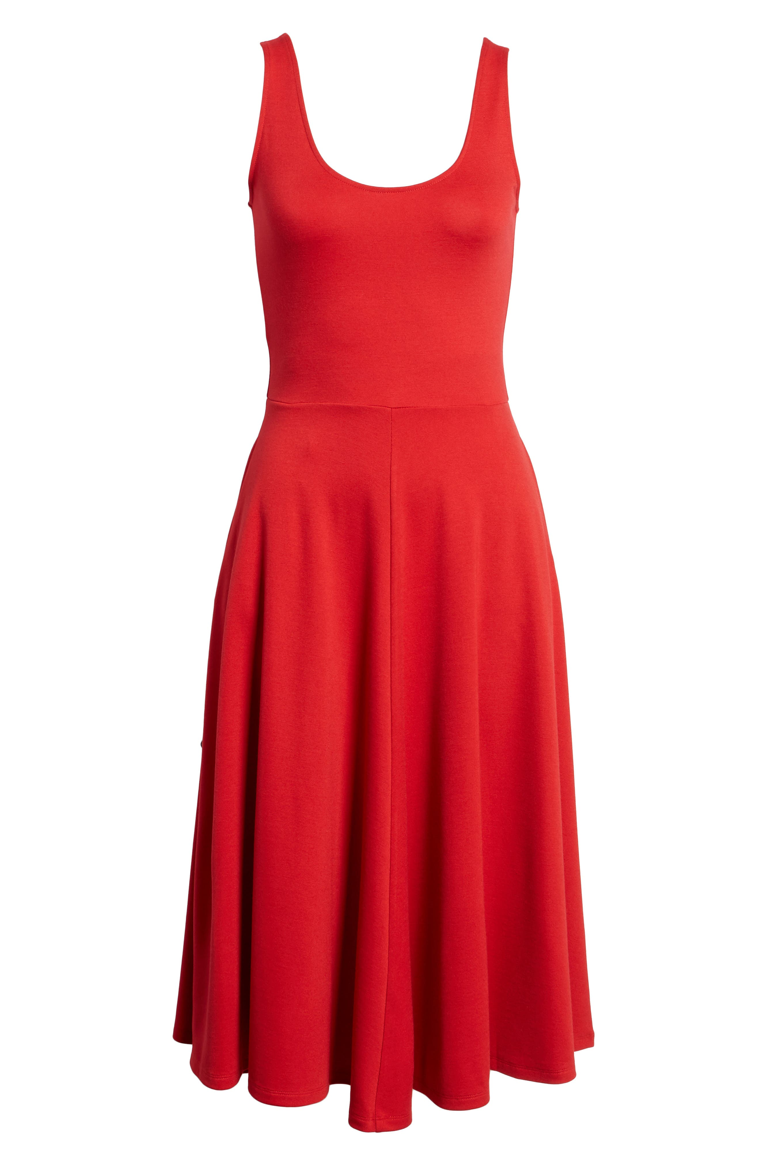 Stretch Knit Midi Dress,                             Alternate thumbnail 6, color,                             Red Couture