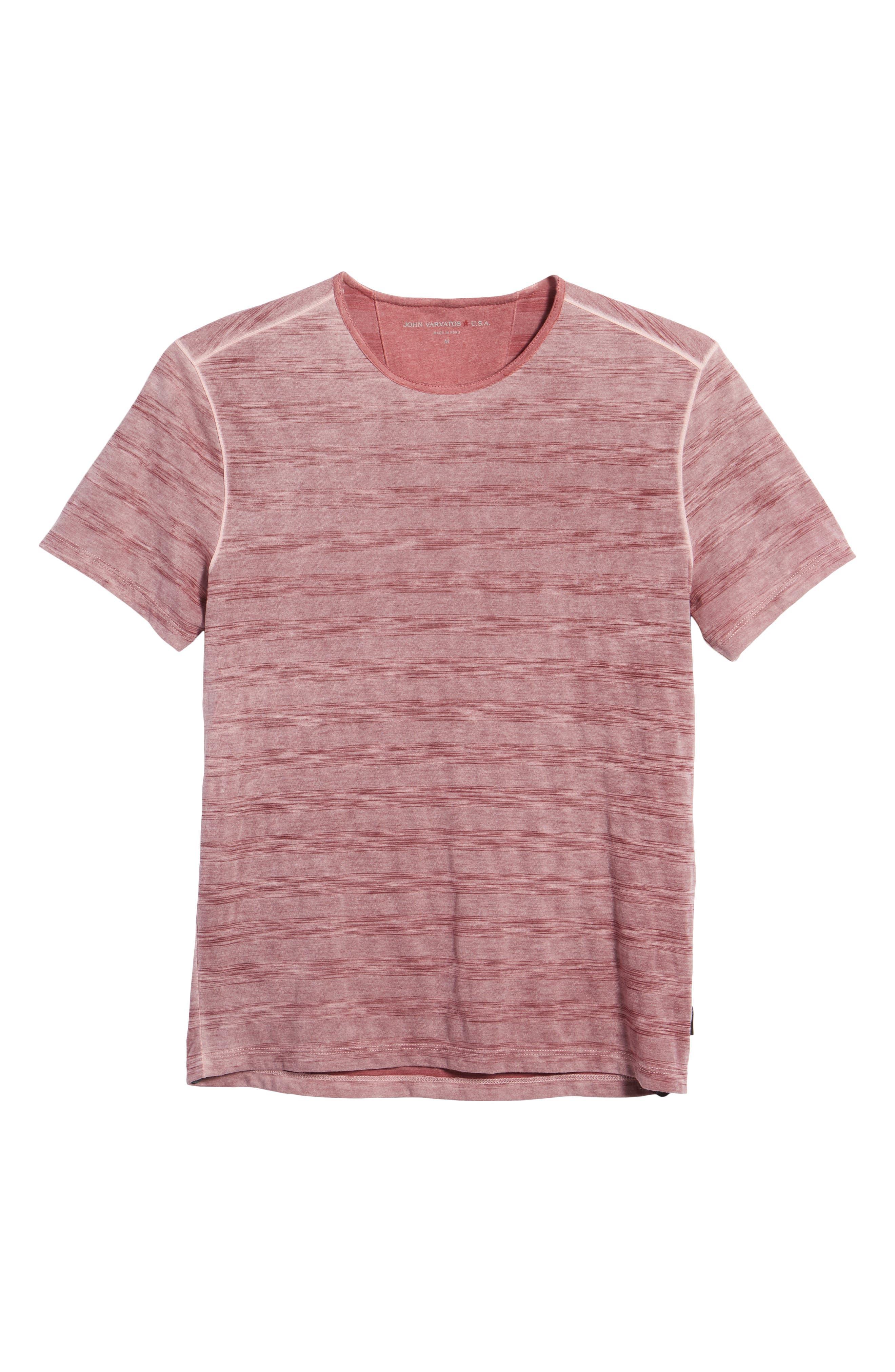 Slim Fit Ombré Stripe T-Shirt,                             Alternate thumbnail 6, color,                             Cranberry