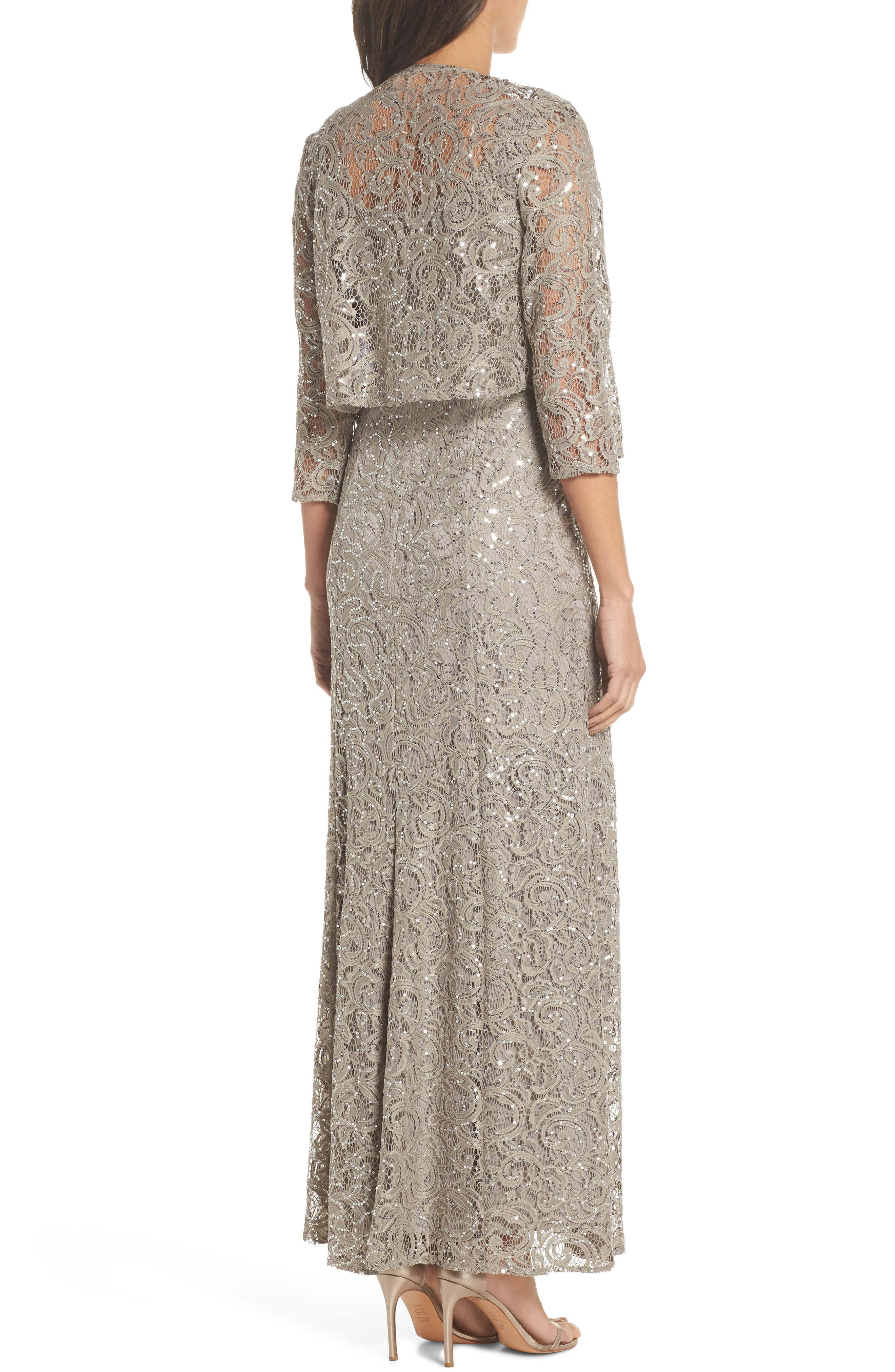 Sequin Lace Jacket Gown,                             Alternate thumbnail 3, color,                             Pewter Frost