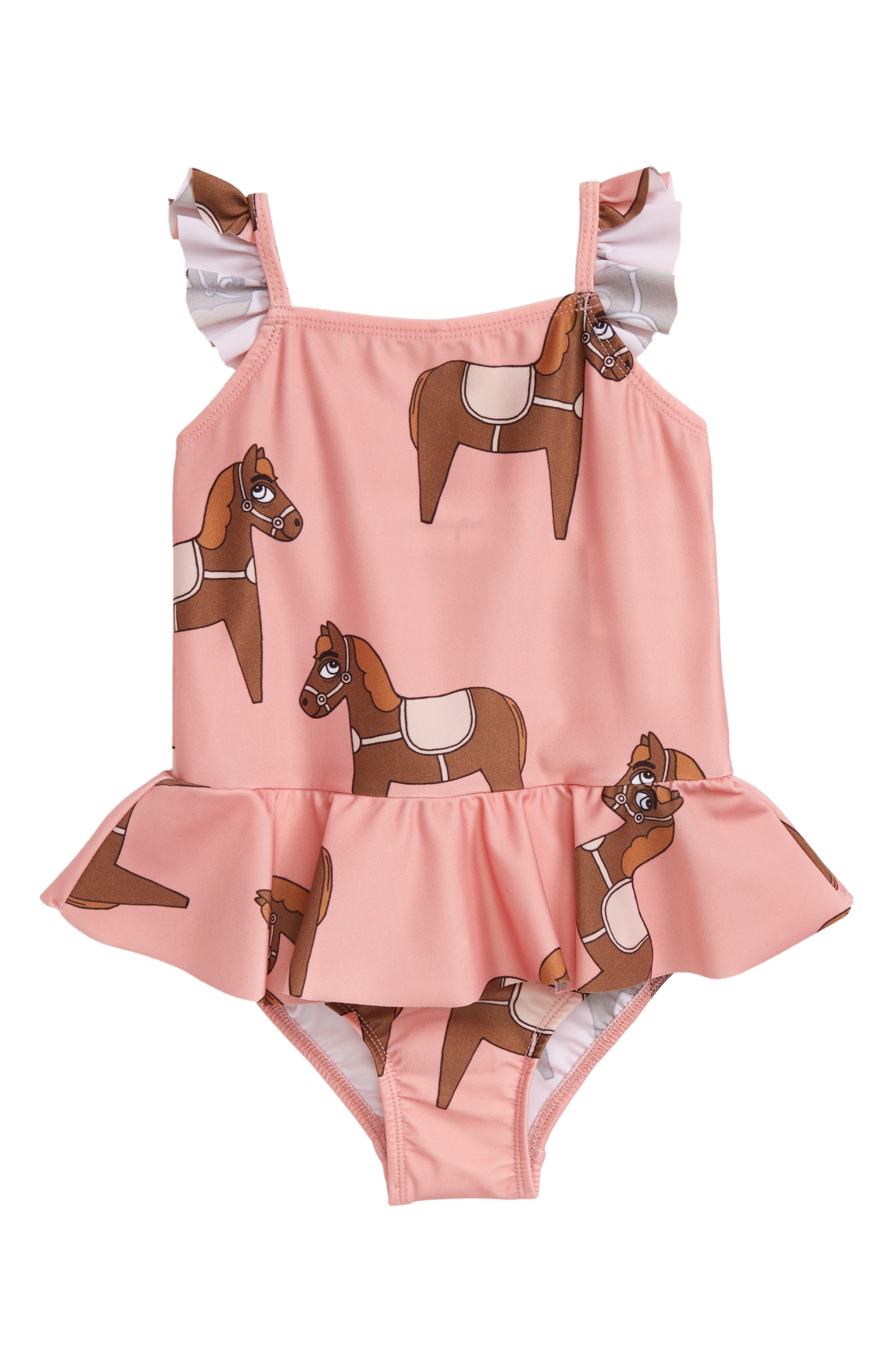 Mini Rodini Horse Skirted One-Piece Swimsuit (Toddler Girls & Little Girls)