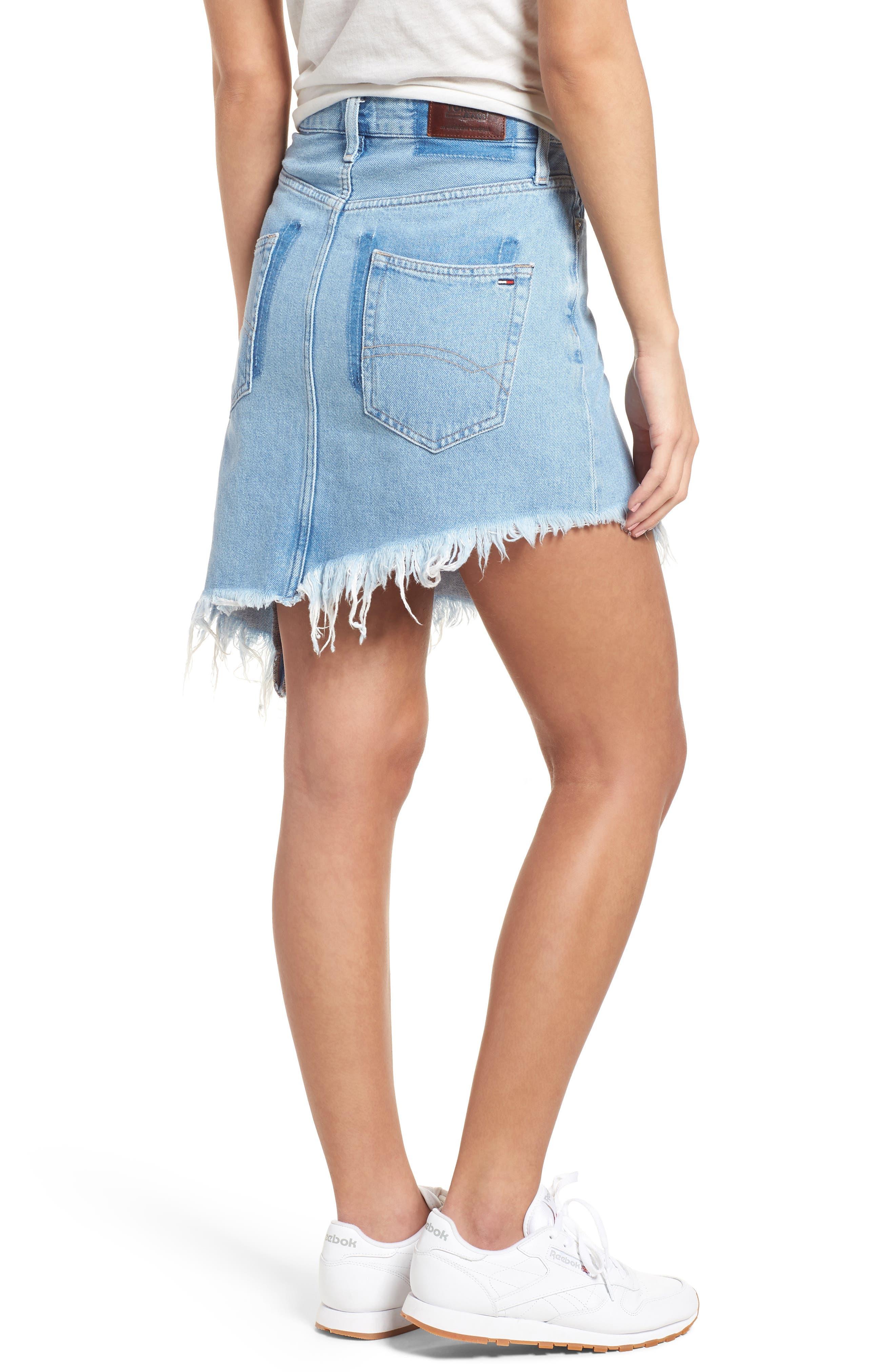 Asymmetrical Denim Skirt,                             Alternate thumbnail 2, color,                             Raw Destructed Blue Rigid