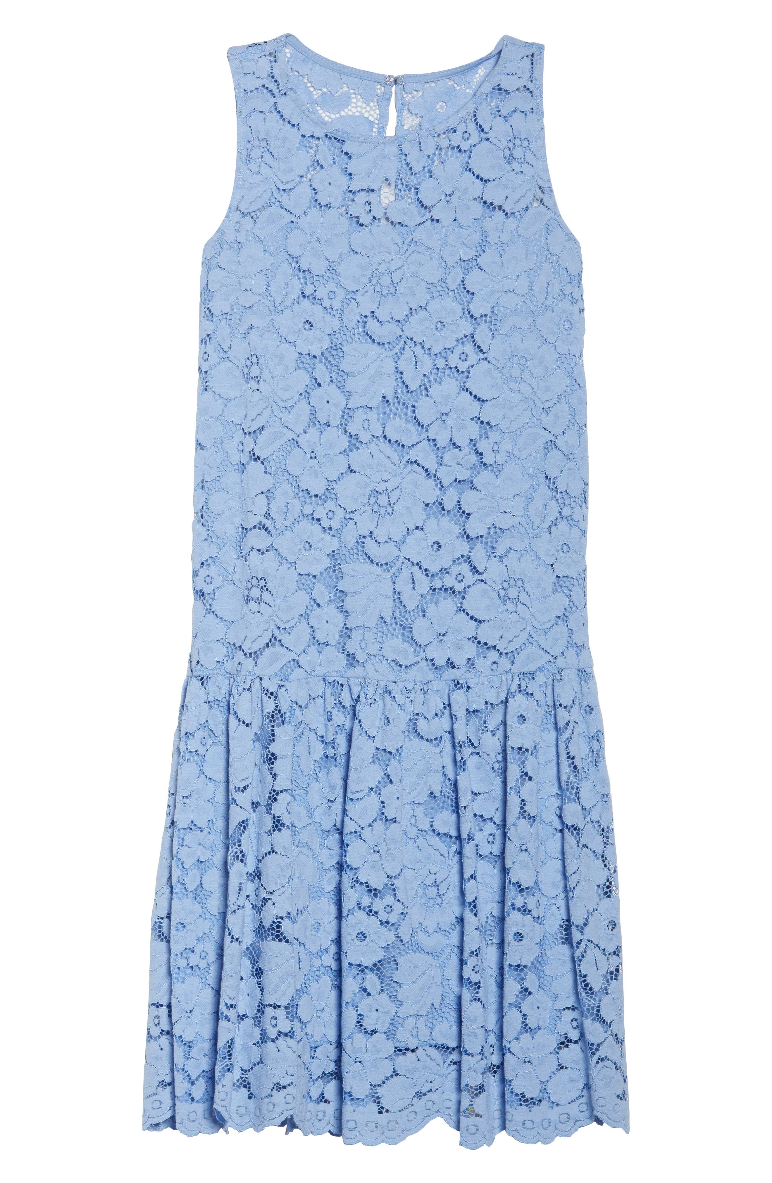 Lace Drop Waist Dress,                             Alternate thumbnail 7, color,                             Cornflower