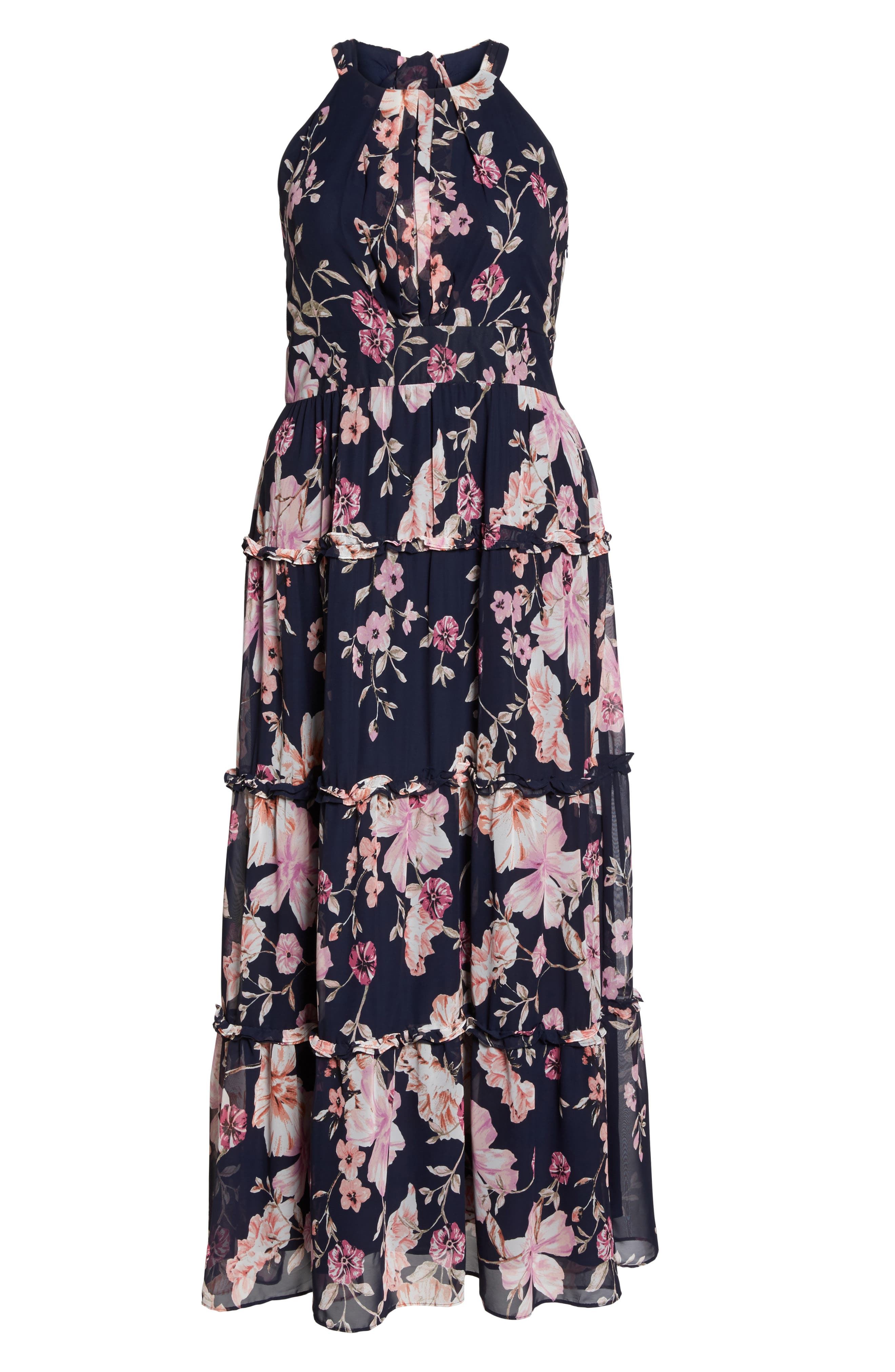 Floral Ruffle Trim Chiffon Halter Maxi Dress,                             Alternate thumbnail 6, color,                             Navy/ Pink