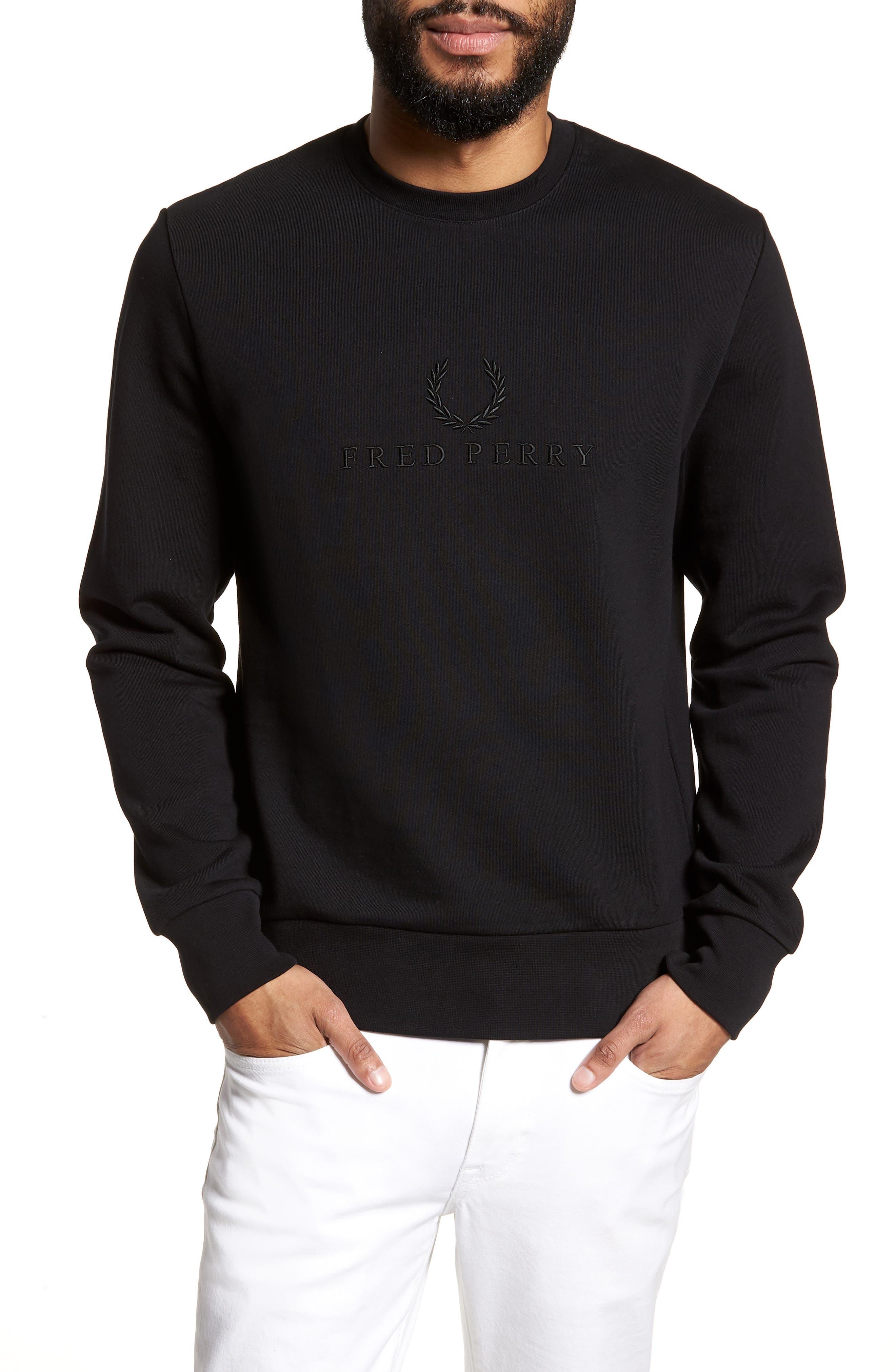 Embroidered Sweatshirt,                         Main,                         color, Black