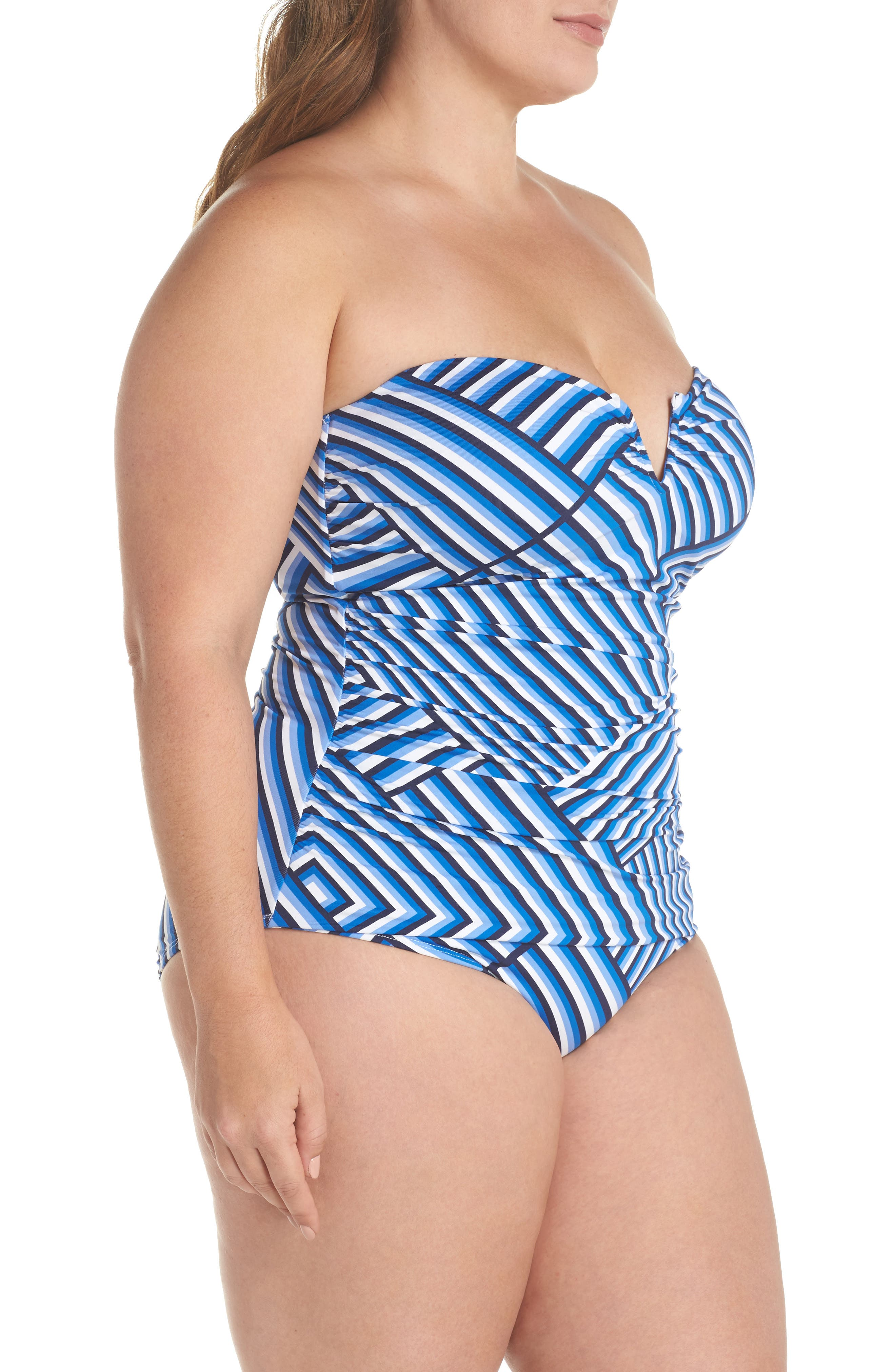 Fronds V-Wire Bandeau One-Piece,                             Alternate thumbnail 4, color,                             White