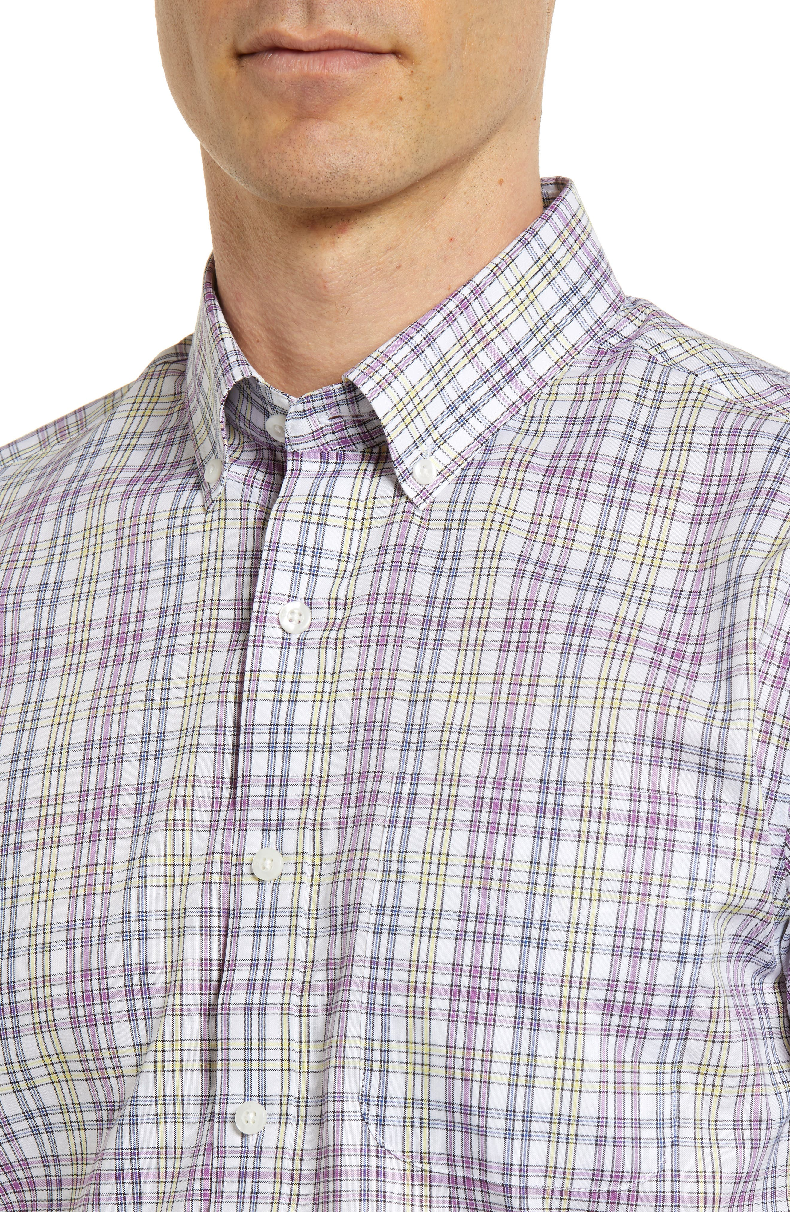 Isaac Plaid Easy Care Woven Shirt,                             Alternate thumbnail 4, color,                             Magnetic