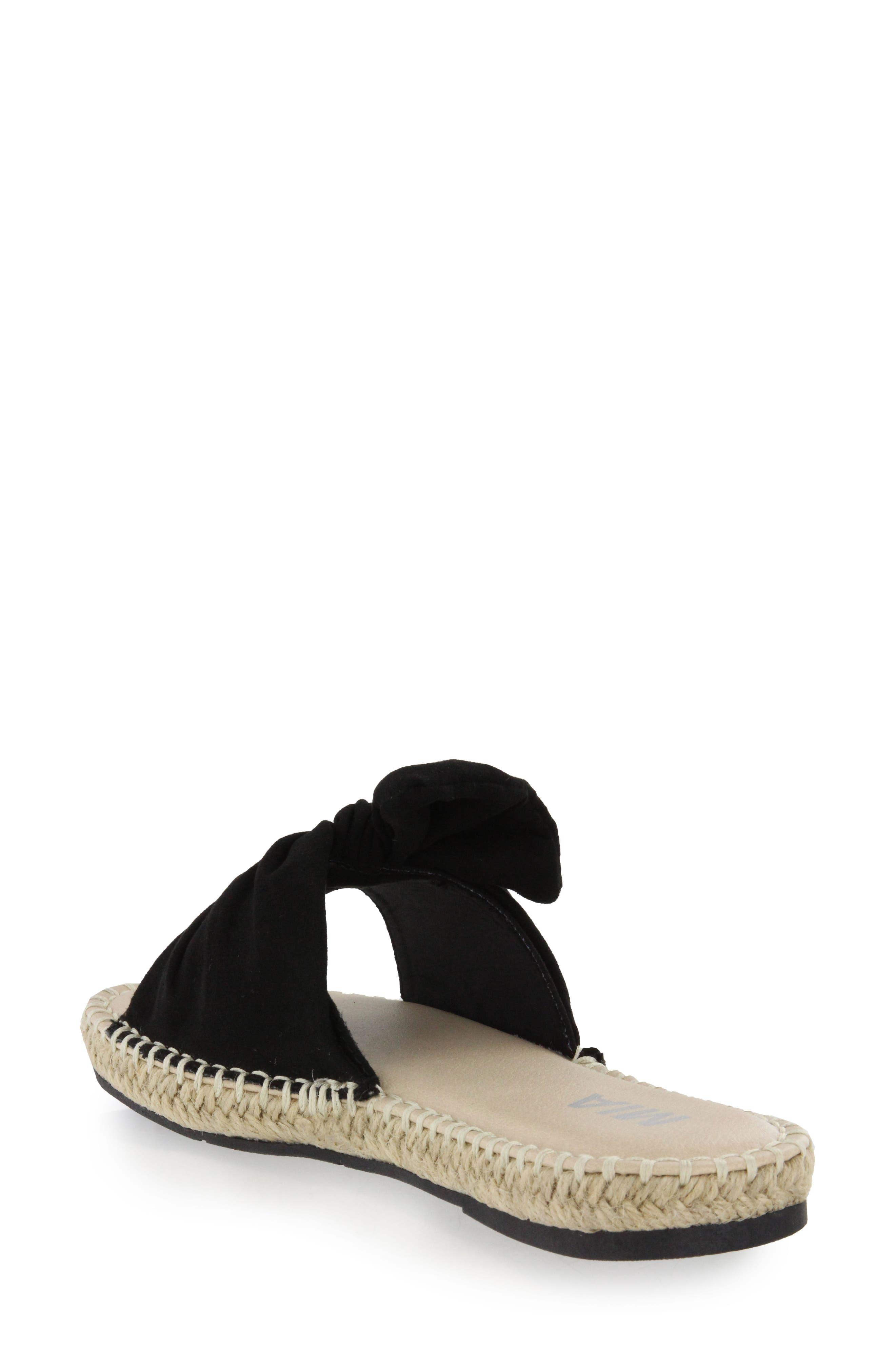 Kensi Knotted Slide Sandal,                             Alternate thumbnail 2, color,                             Black Nova Suede