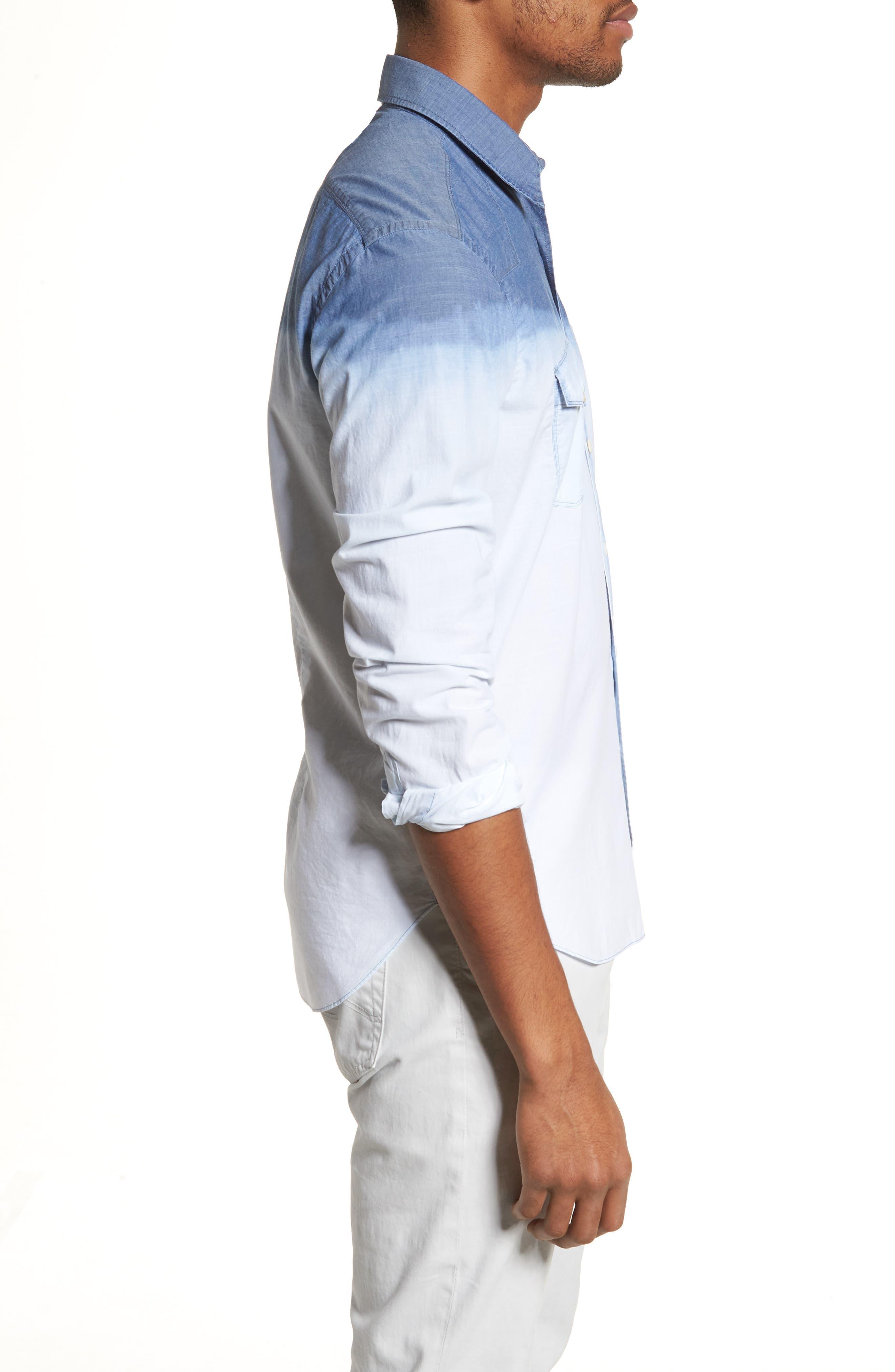 Tailored Fit Dégradé Sport Shirt,                             Alternate thumbnail 3, color,                             Blue