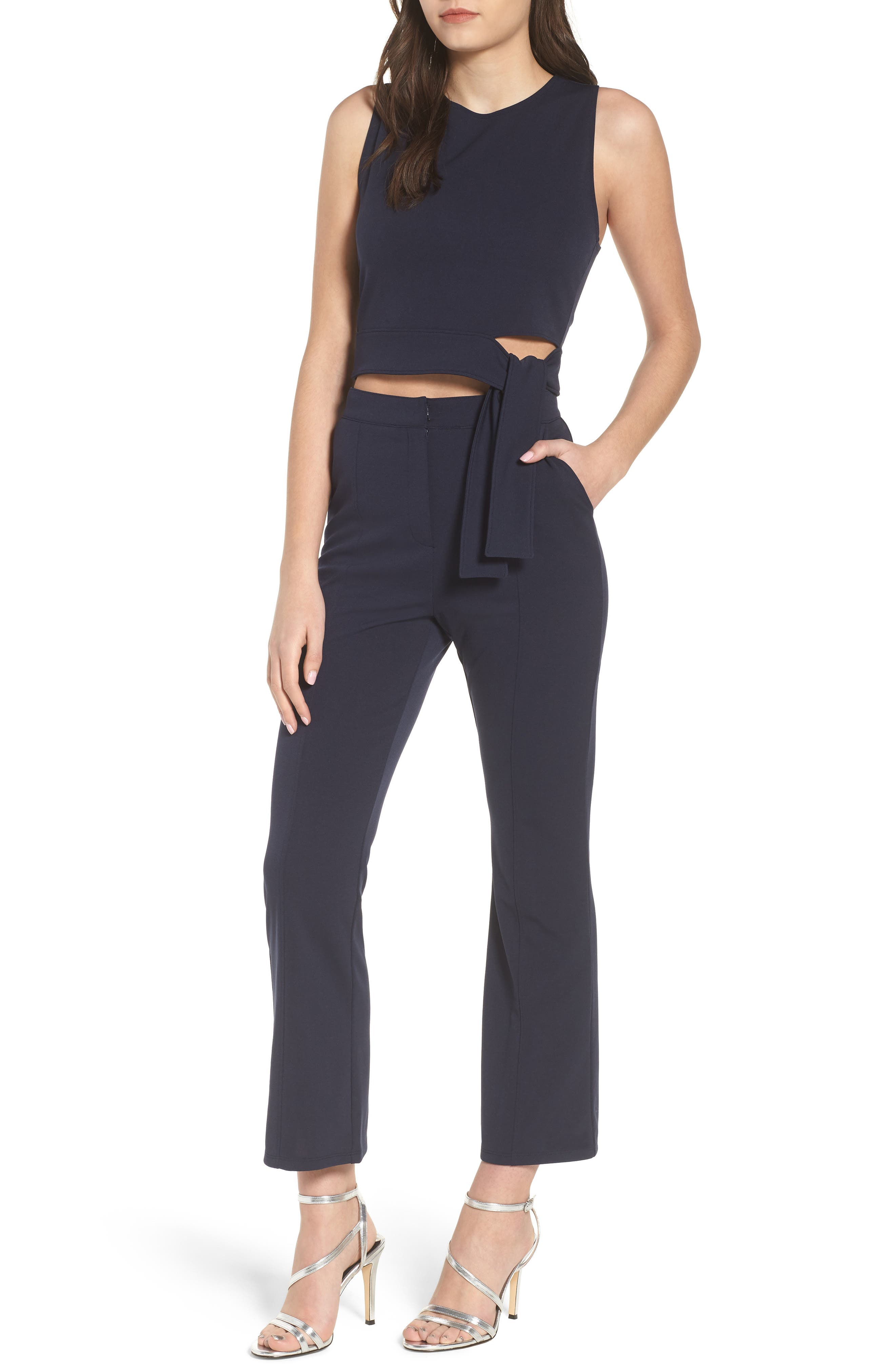 High Waist Crop Flare Pants,                             Alternate thumbnail 2, color,                             Navy Evening