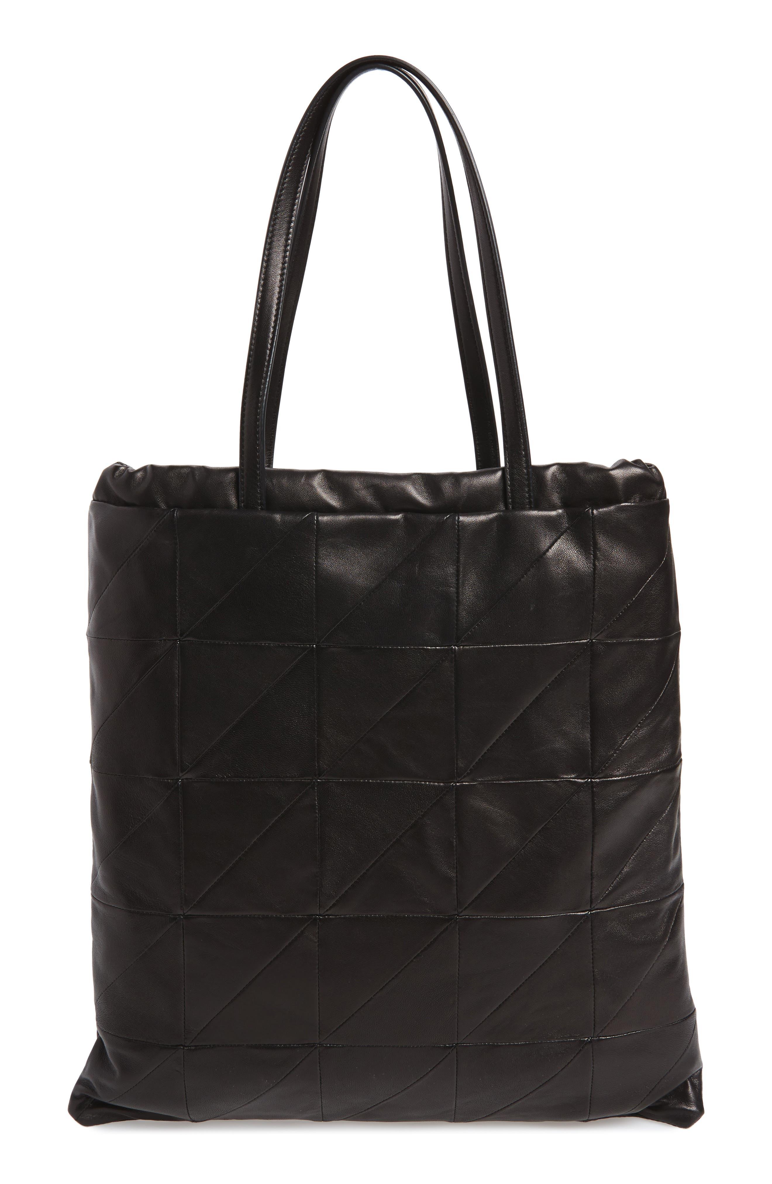 Antibe Flat Leather Shopper,                             Alternate thumbnail 3, color,                             Noir