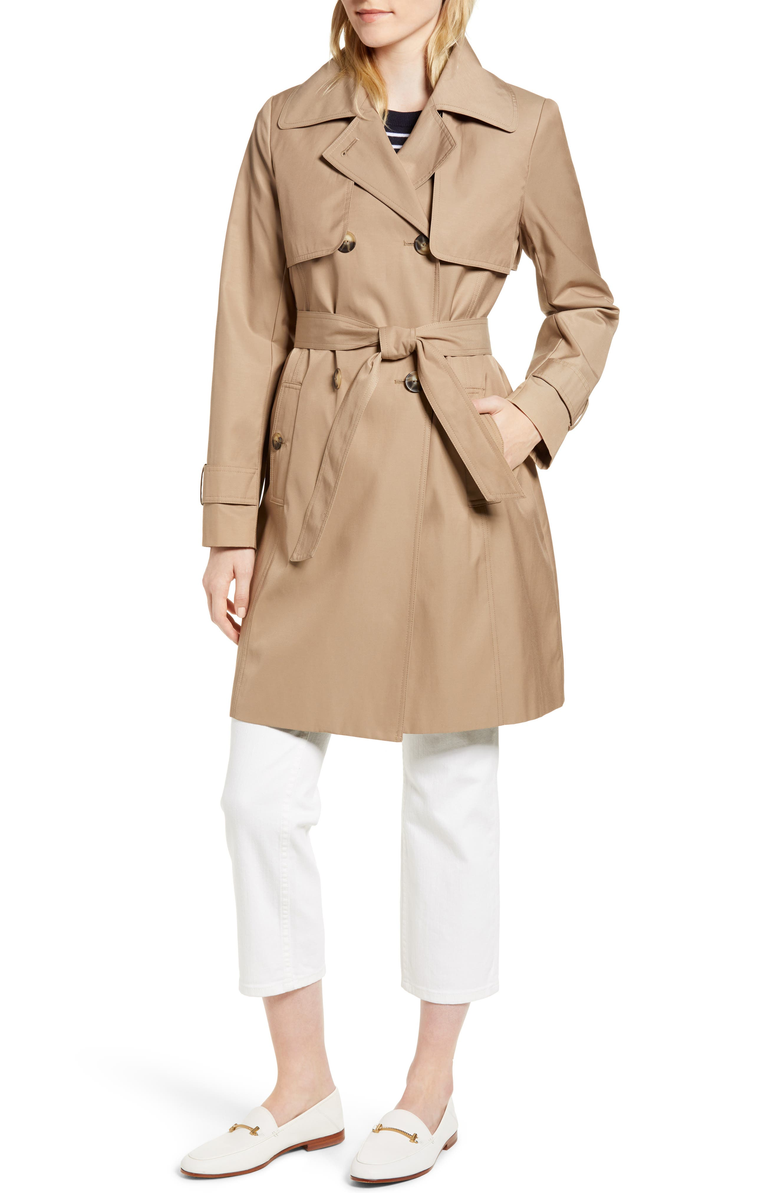 Midi Trench Coat,                             Alternate thumbnail 5, color,                             Khaki
