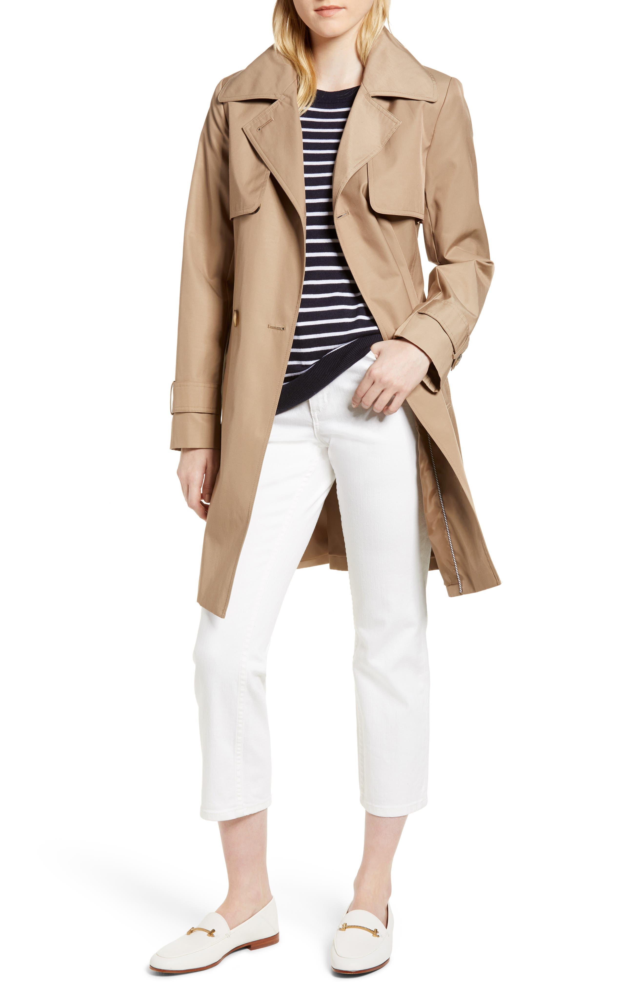 Midi Trench Coat,                             Main thumbnail 1, color,                             Khaki