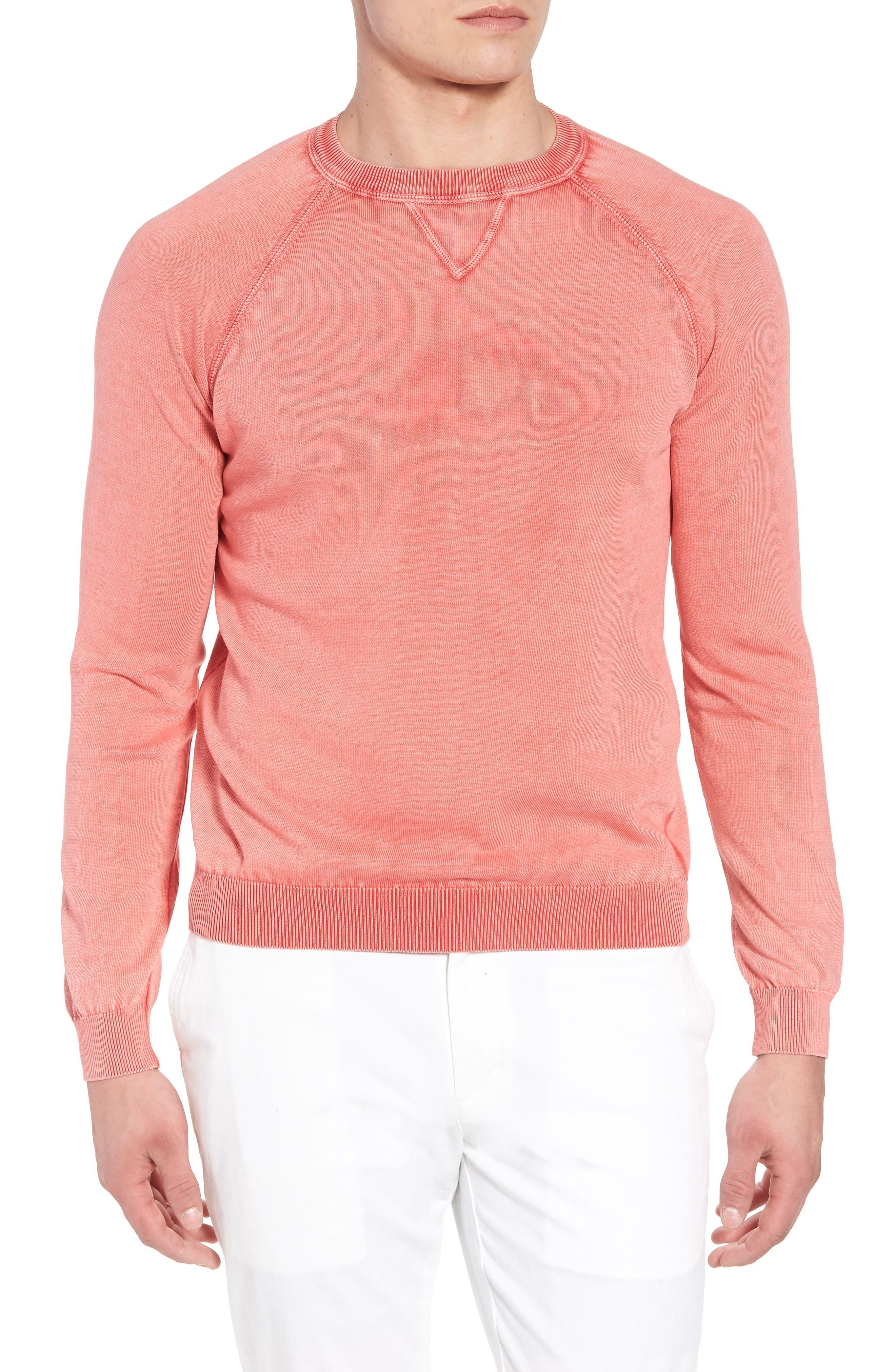 Stonewash Cotton Sweatshirt,                         Main,                         color, Washed Coral