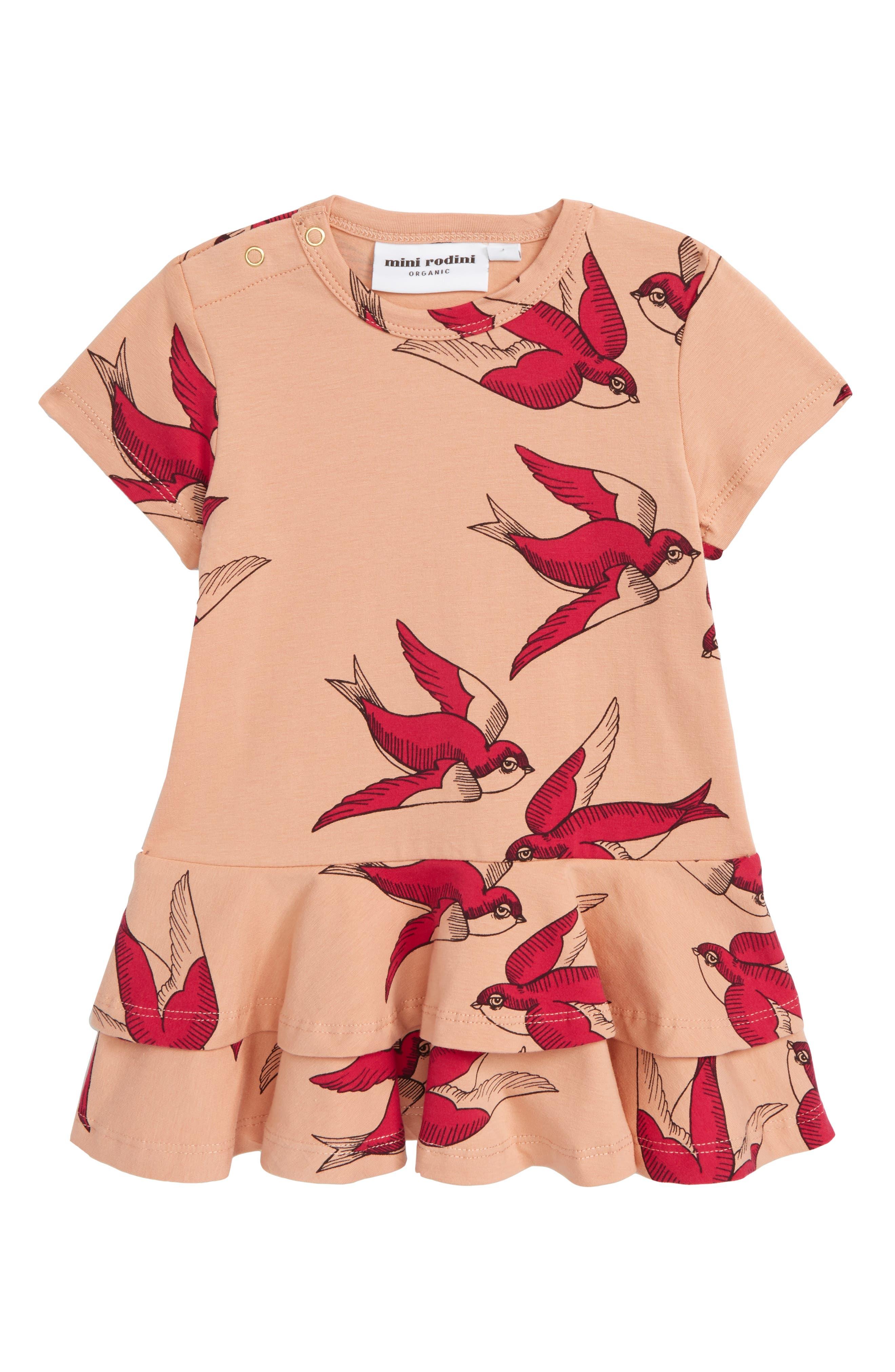 Swallows Frill Dress,                         Main,                         color, Pink