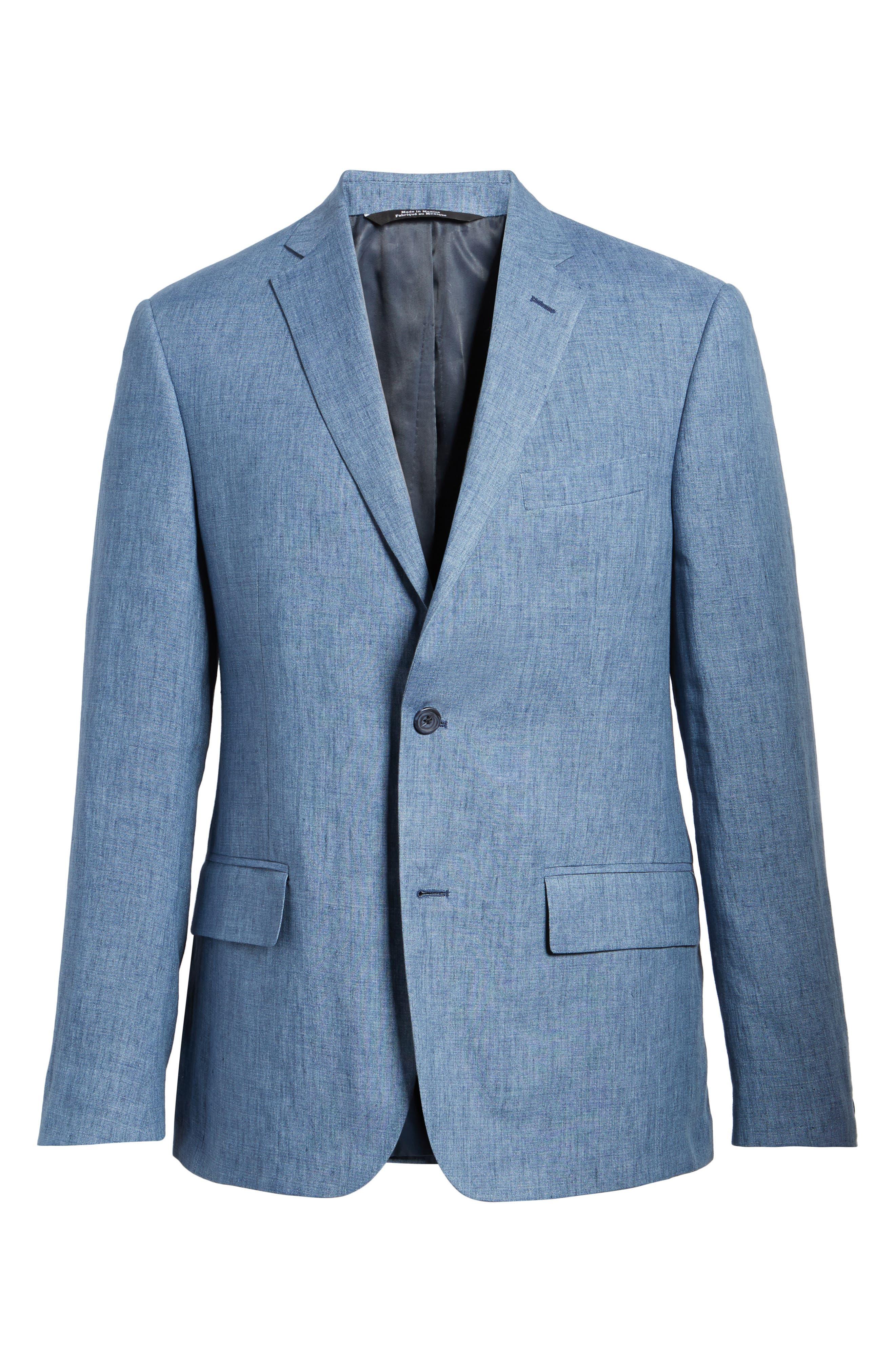 Trim Fit Linen Blazer,                             Alternate thumbnail 6, color,                             Blue Denim