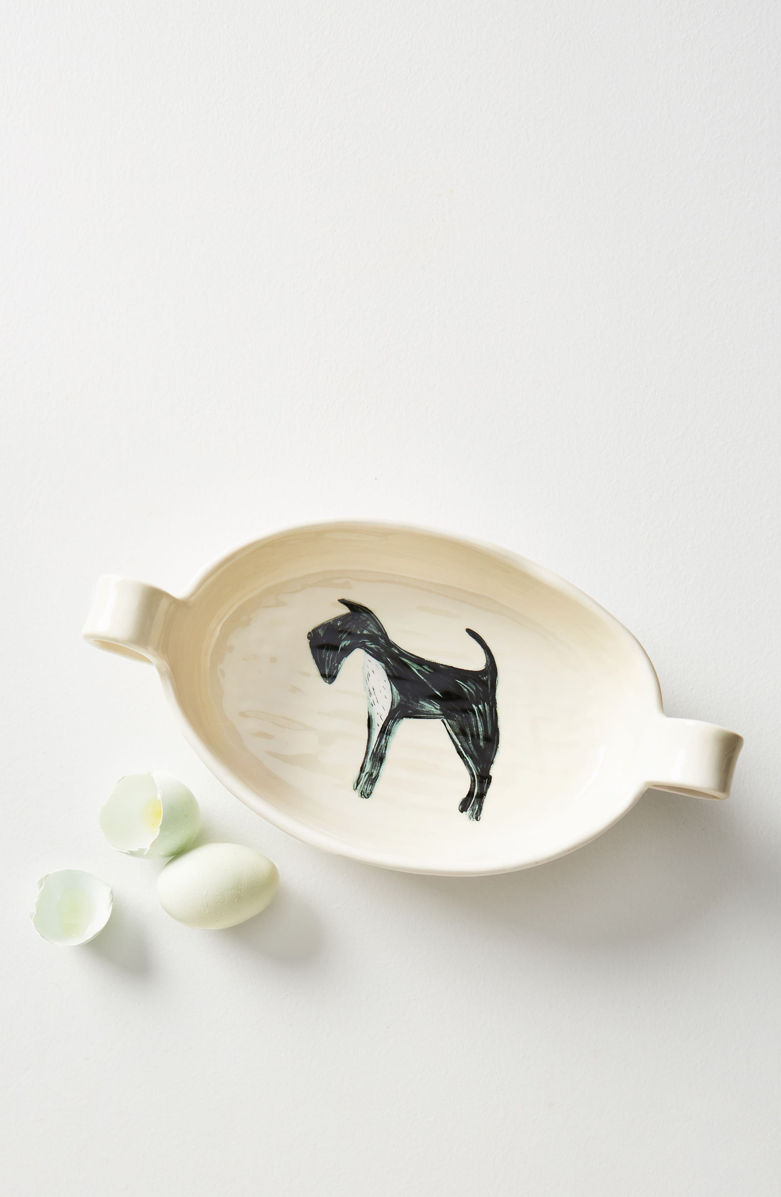 Painted Pup Stoneware Gratin Dish,                             Main thumbnail 1, color,                             Scottie