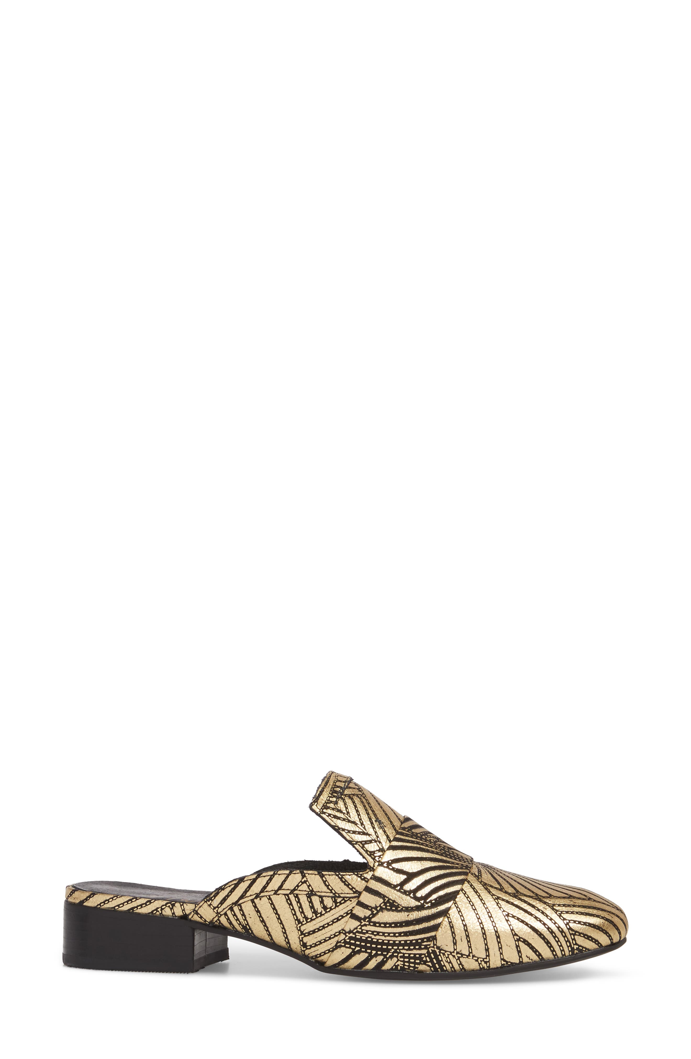 Amuse Society x Matisse Le Bella Loafer Mule,                             Alternate thumbnail 3, color,                             Gold Floral Leather