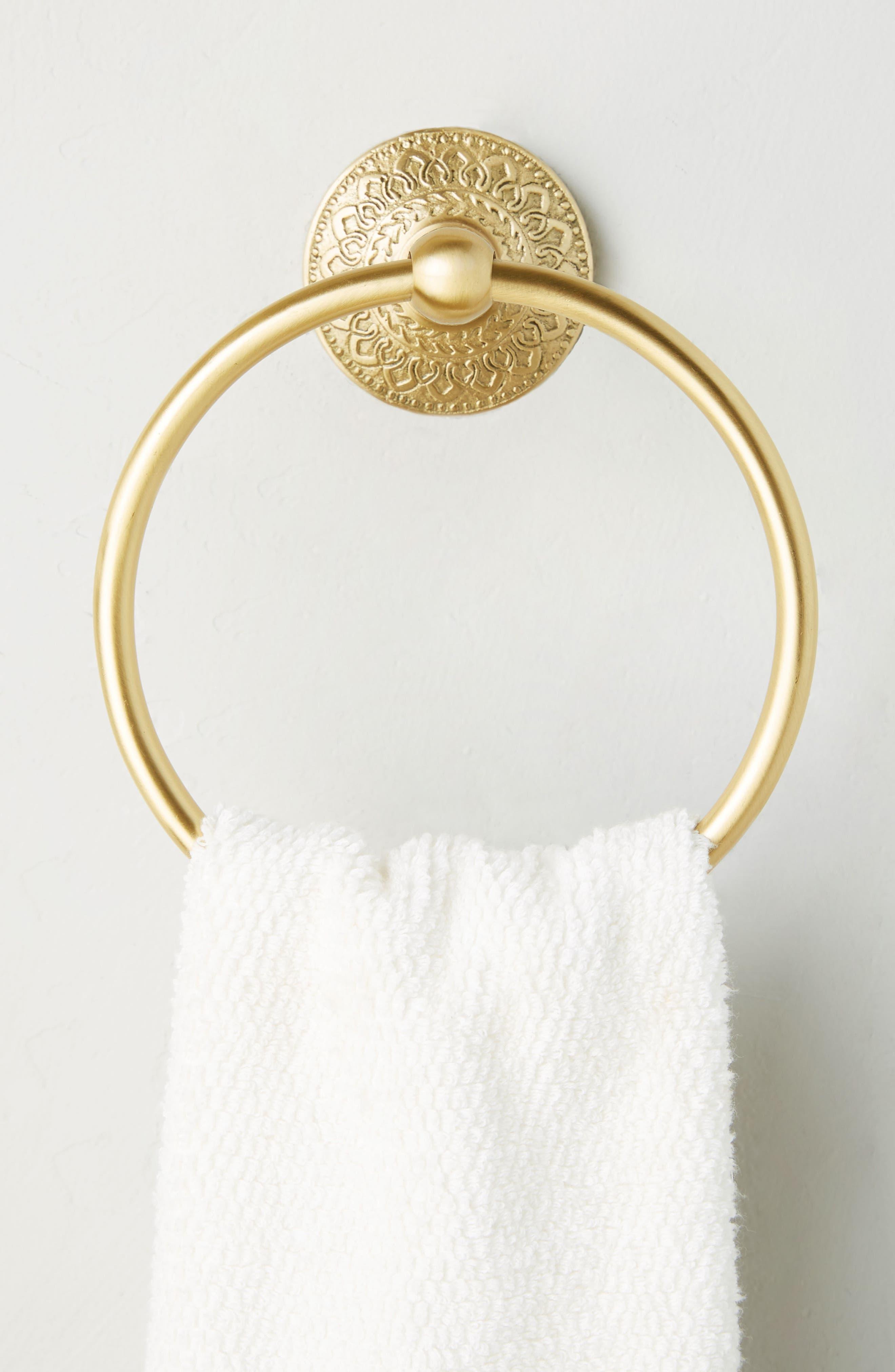 Brass Medallion Towel Ring,                             Alternate thumbnail 2, color,                             Honey