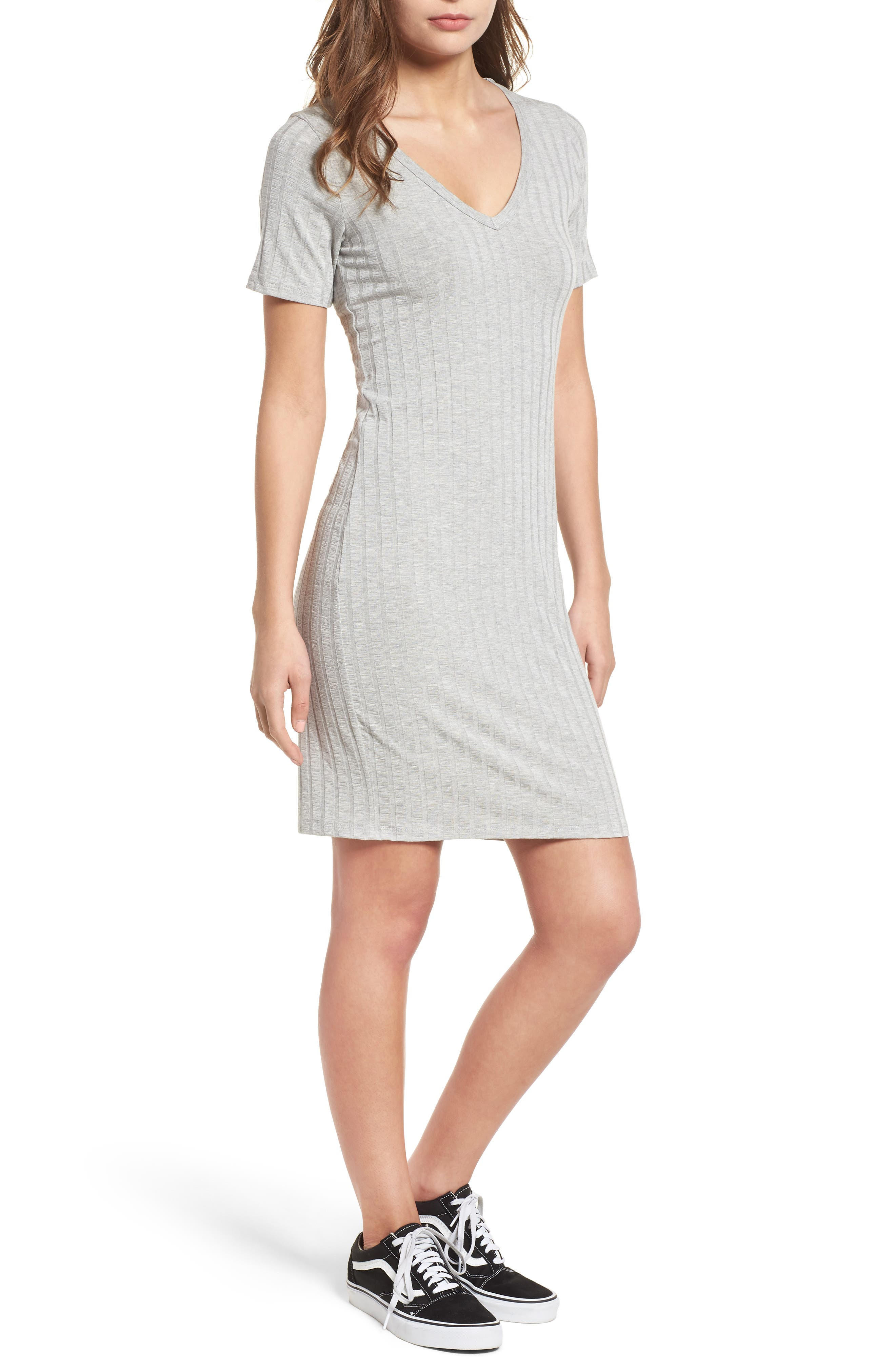Project Social T Ribbed Body-Con Dress,                         Main,                         color, Heather Grey