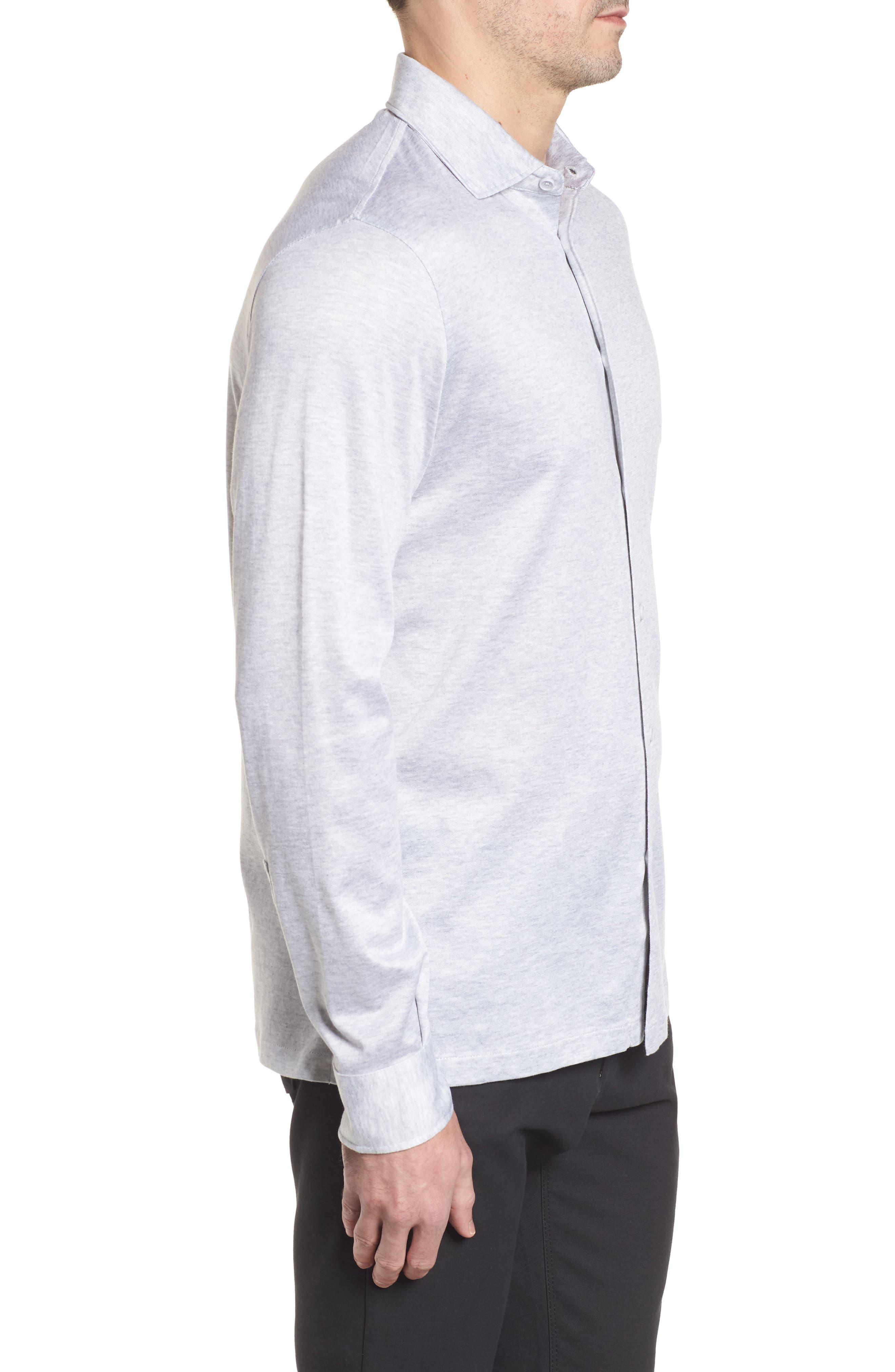 Regular Fit Silk Blend Sport Shirt,                             Alternate thumbnail 3, color,                             Platinum