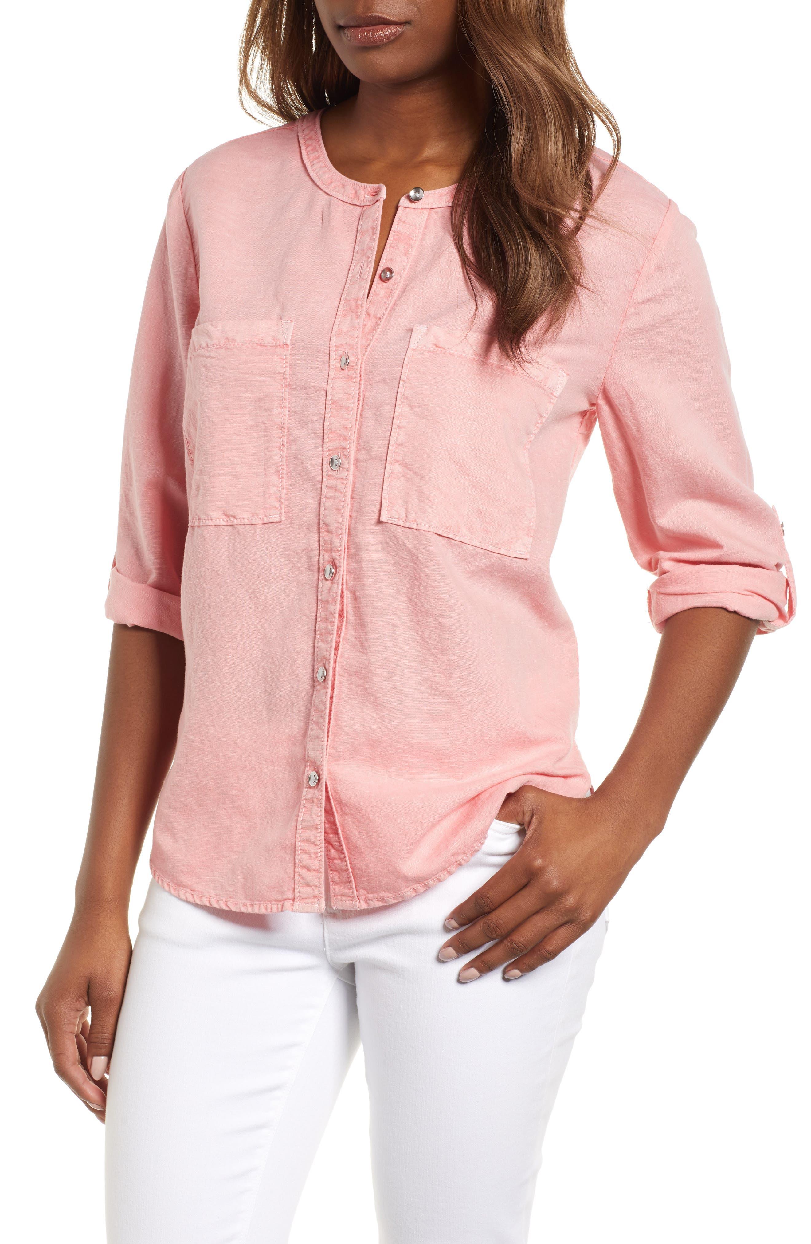 Caslon® Linen & Cotton Long Sleeve Top (Regular & Petite)