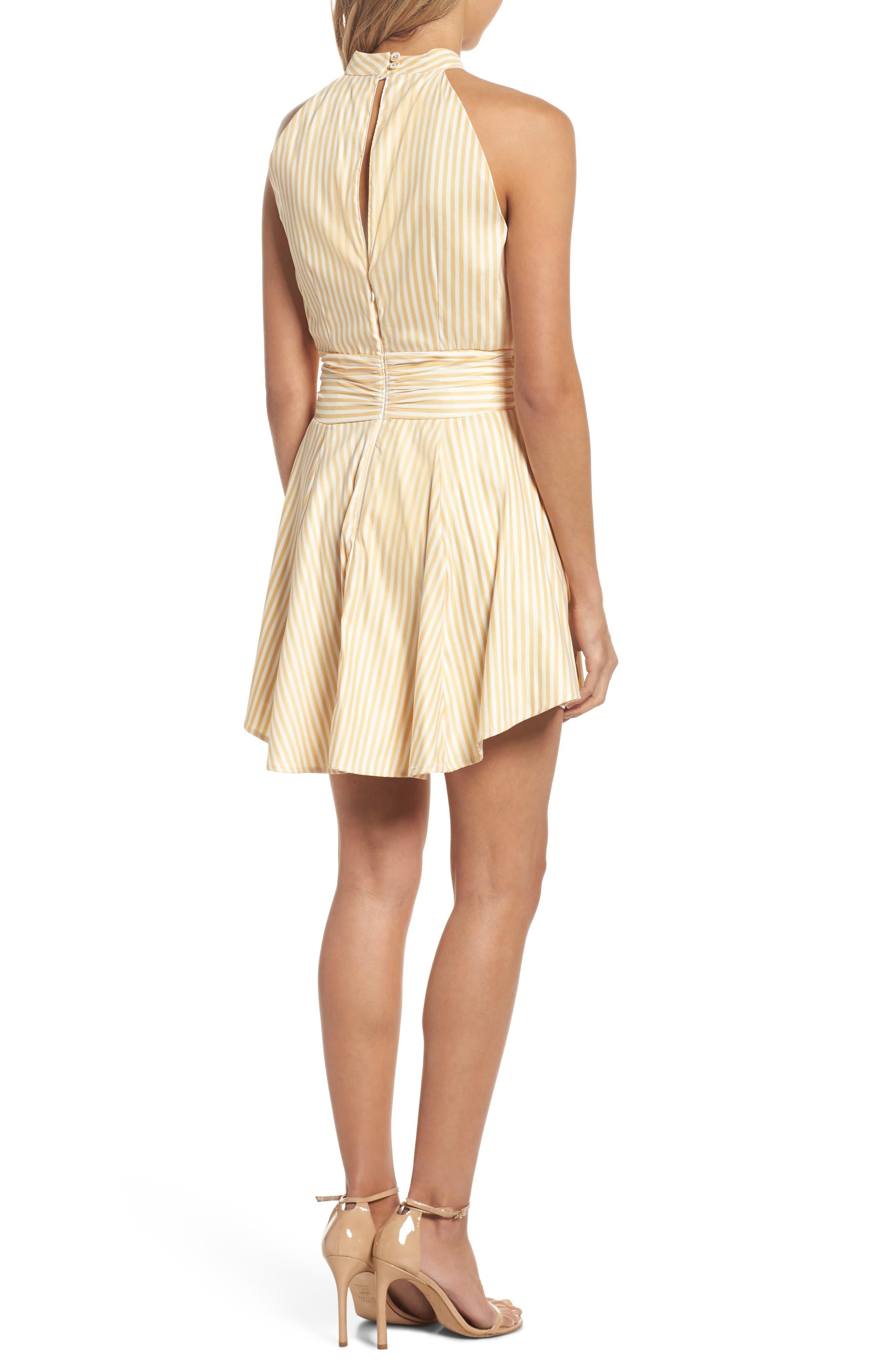 Believe in Me Halter Neck Party Dress,                             Alternate thumbnail 3, color,                             Honey Stripe