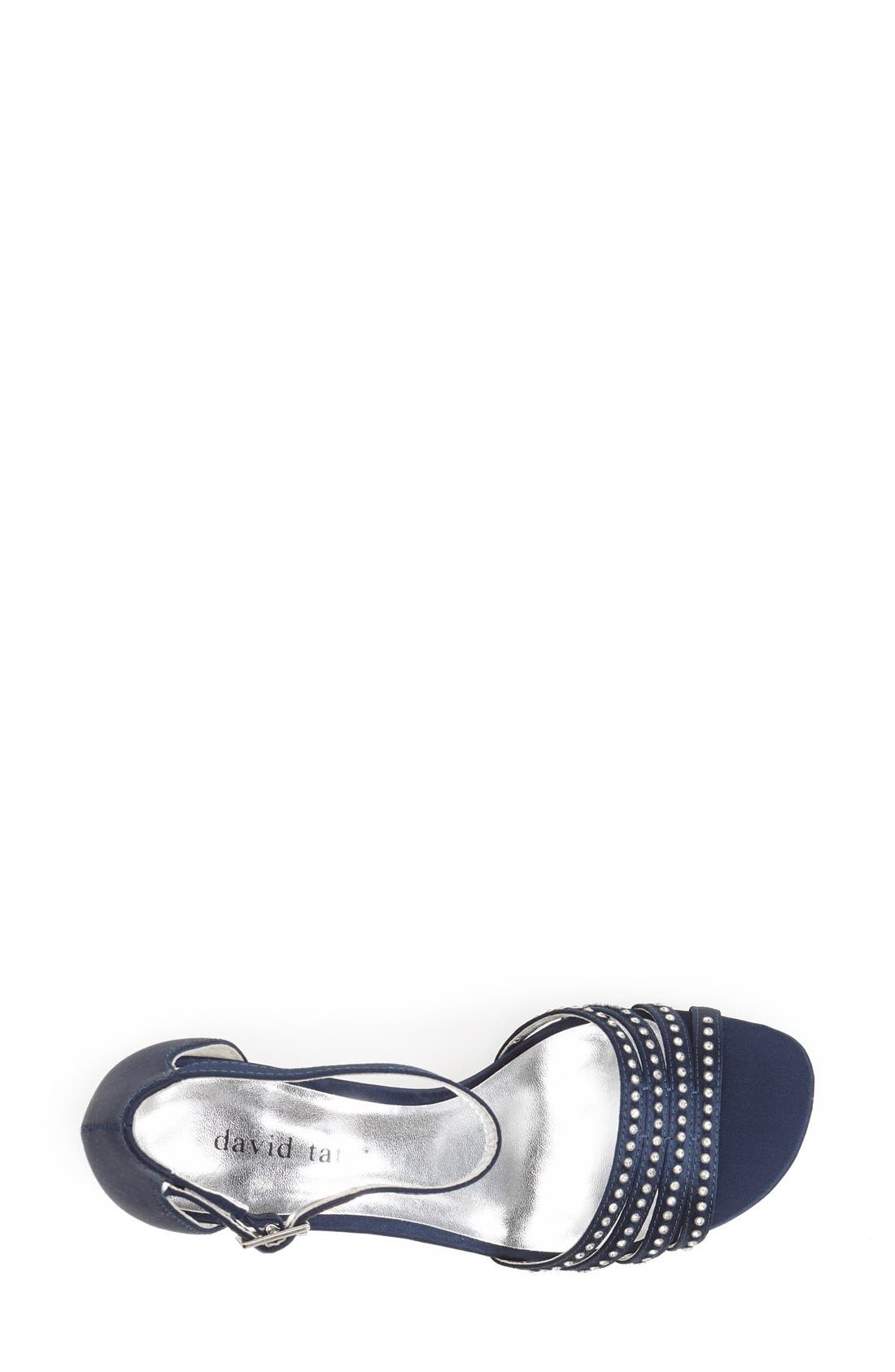 'Terra' Ankle Strap Sandal,                             Alternate thumbnail 3, color,                             Navy Satin