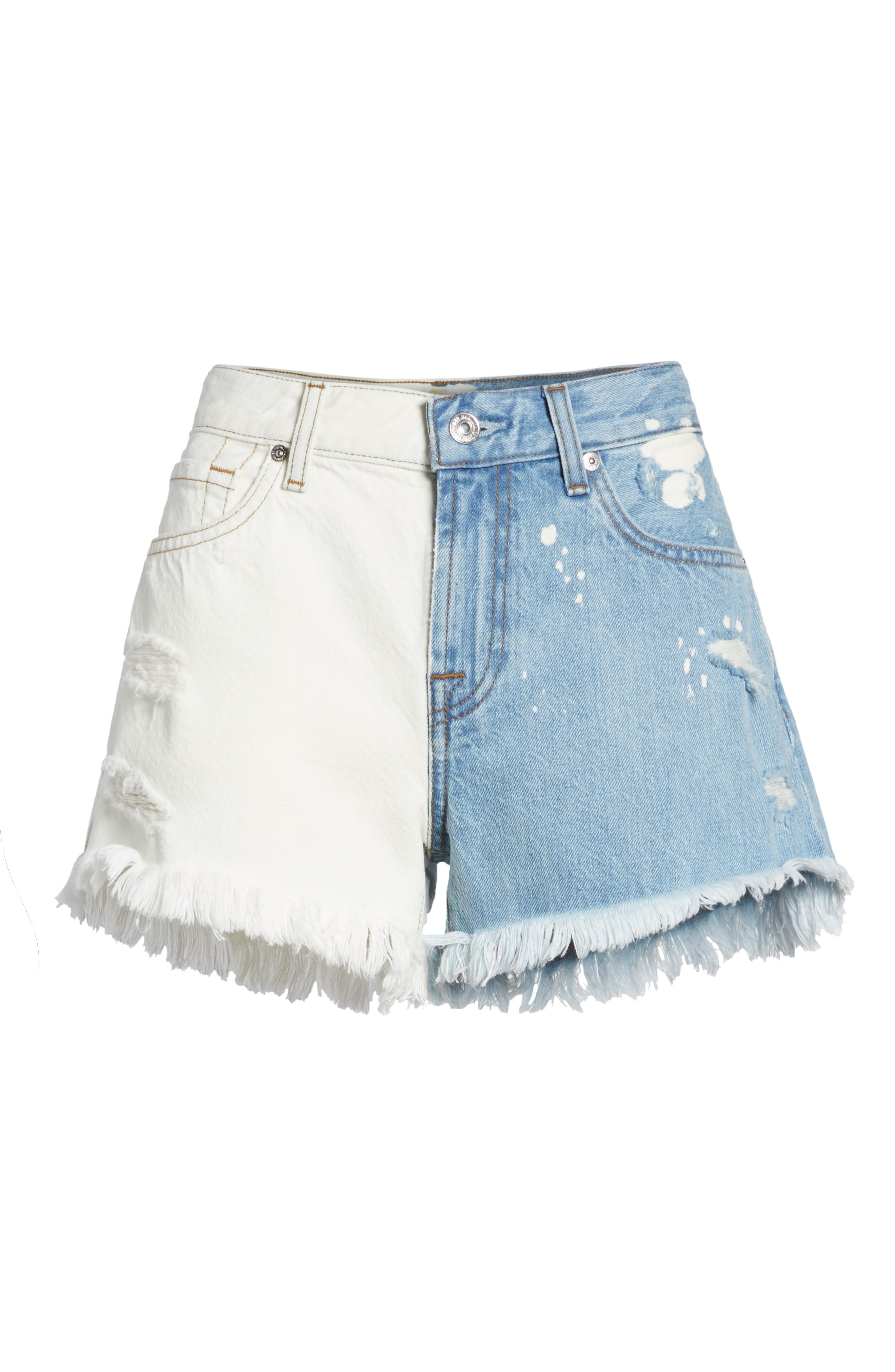 Alternate Image 6  - 7 For All Mankind® Colorblock Cutoff Denim Shorts (Cloud Sky 2)