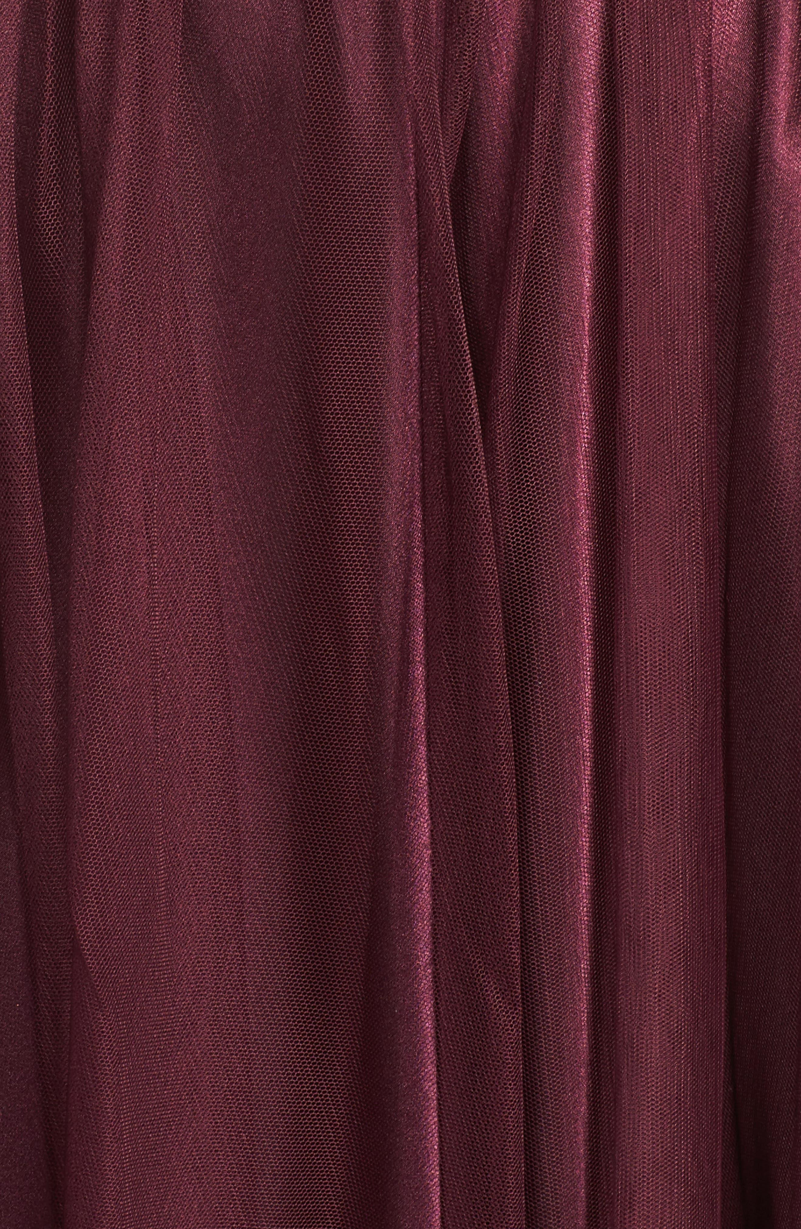 Strapless Appliqué Ballgown,                             Alternate thumbnail 6, color,                             Nude/ Wine