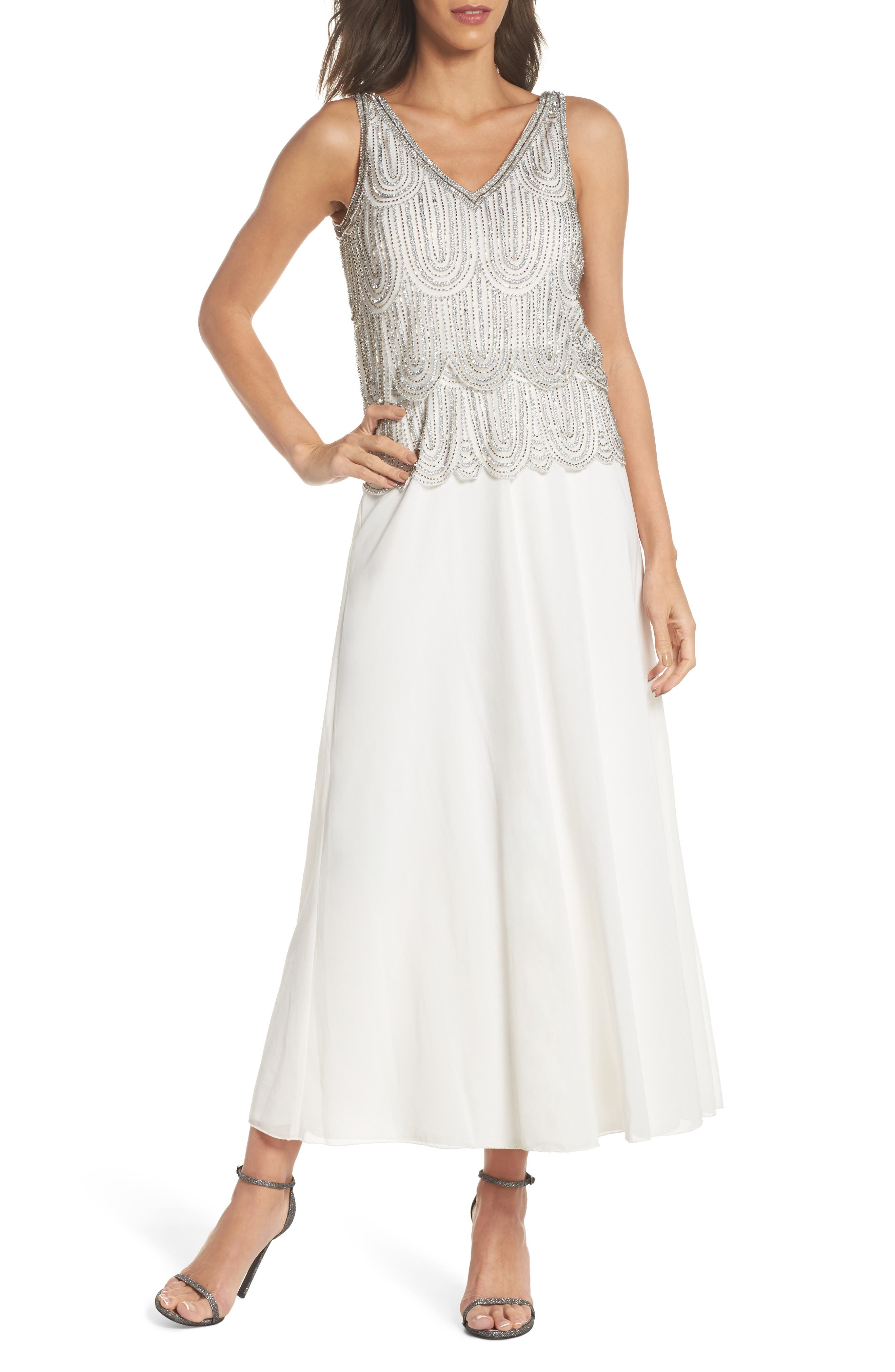 Beaded Mock Two-Piece A-Line Gown,                             Main thumbnail 1, color,                             Ivory