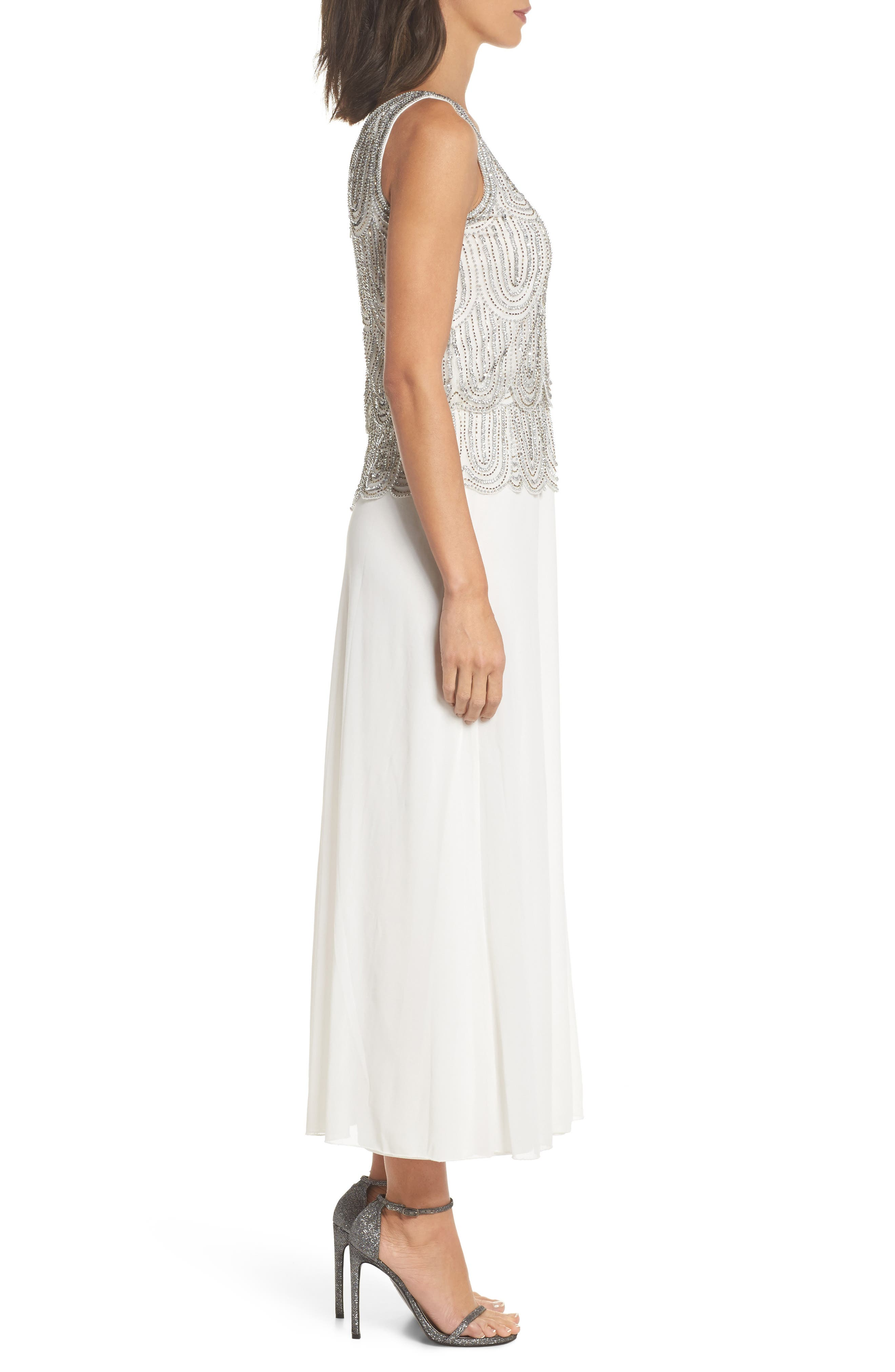 Beaded Mock Two-Piece A-Line Gown,                             Alternate thumbnail 3, color,                             Ivory