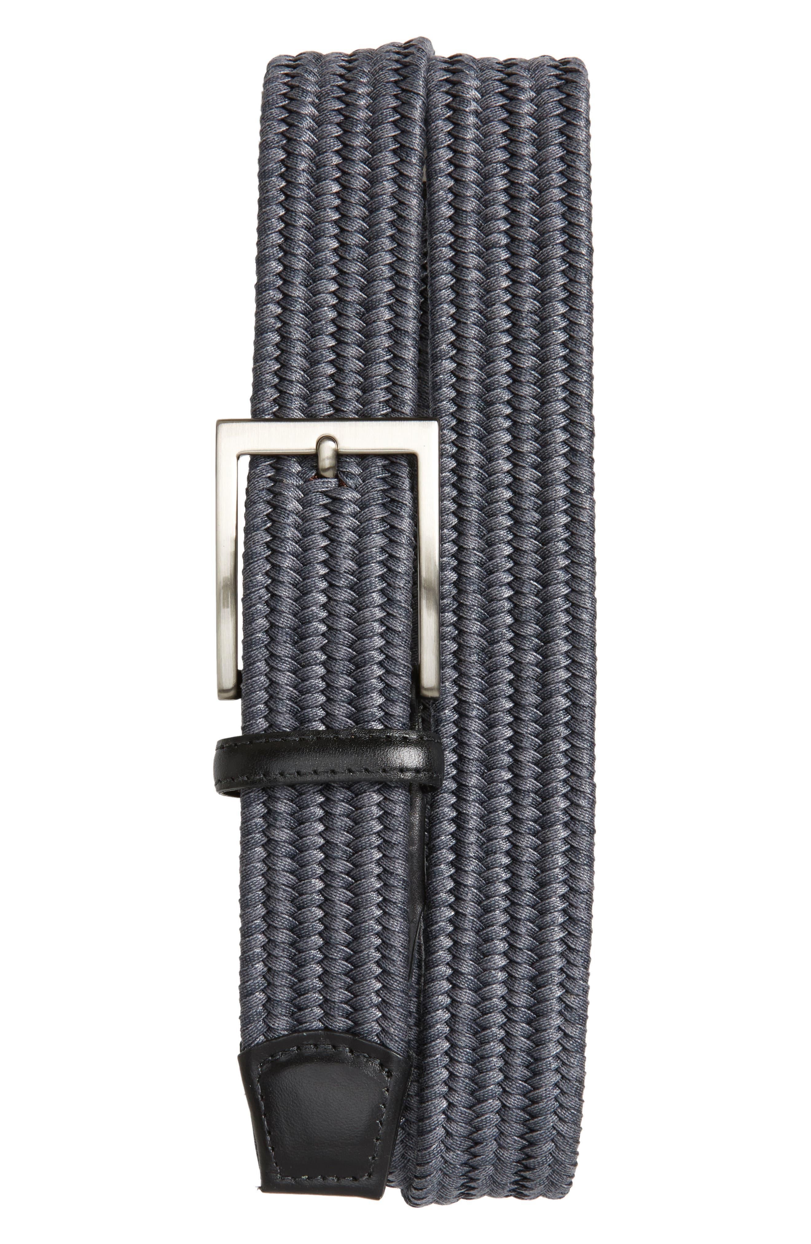 Braided Cotton Belt,                             Main thumbnail 1, color,                             Grey