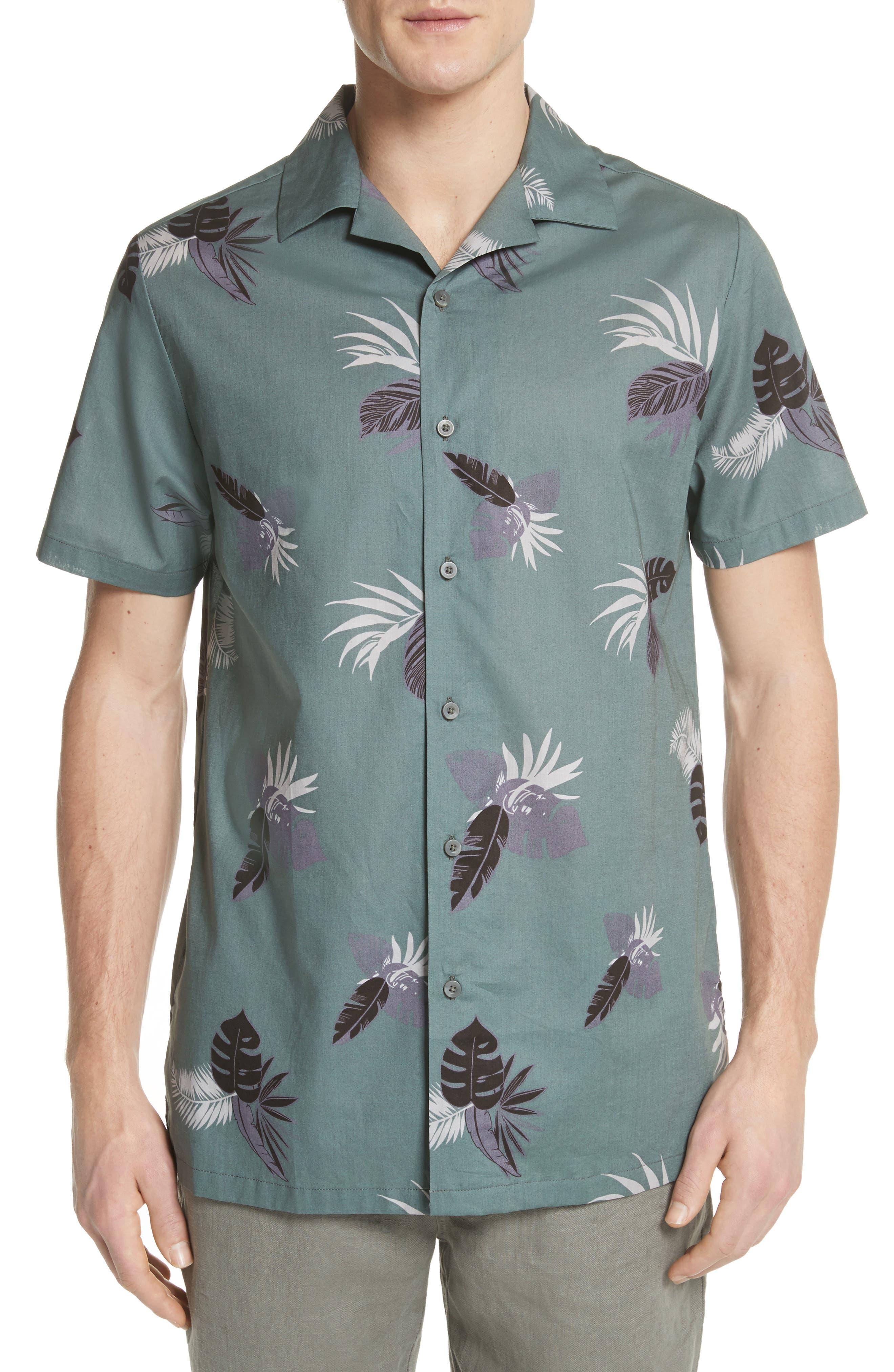 Linear Palm Print Vacation Shirt,                             Main thumbnail 1, color,                             Deep Sage Multi
