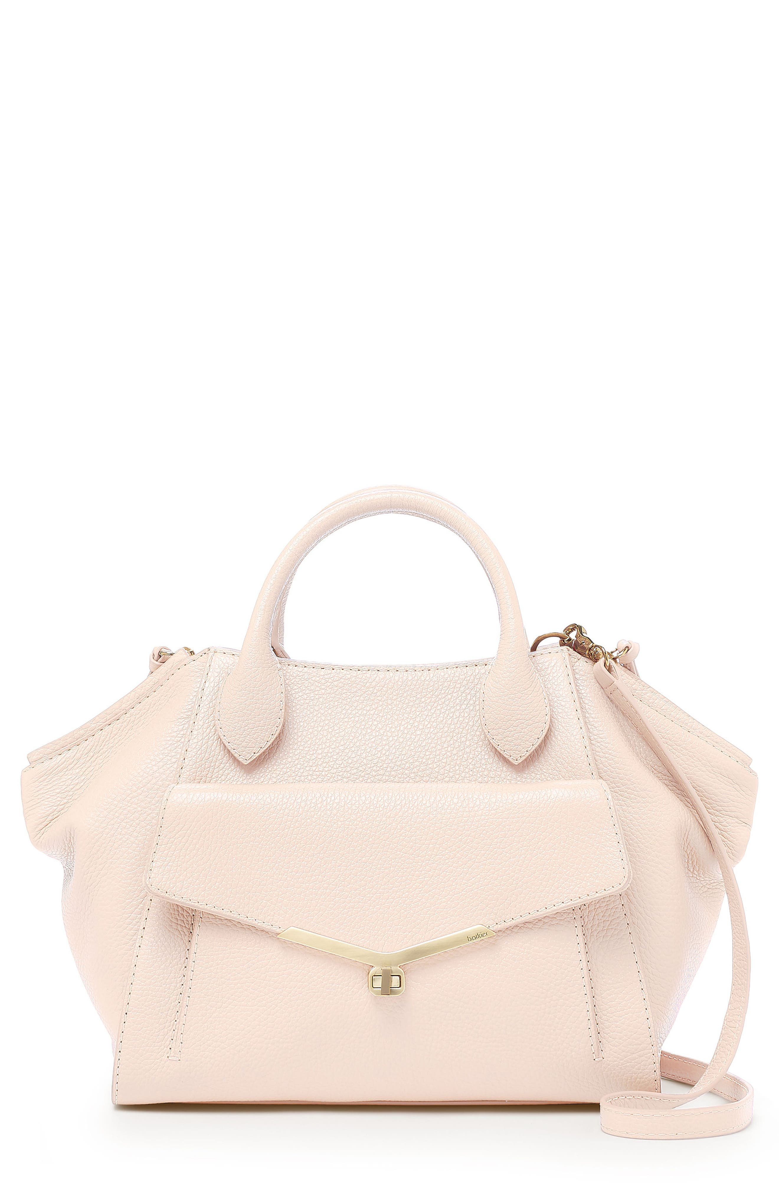 Vivi Calfskin Leather Satchel,                         Main,                         color, Blossom