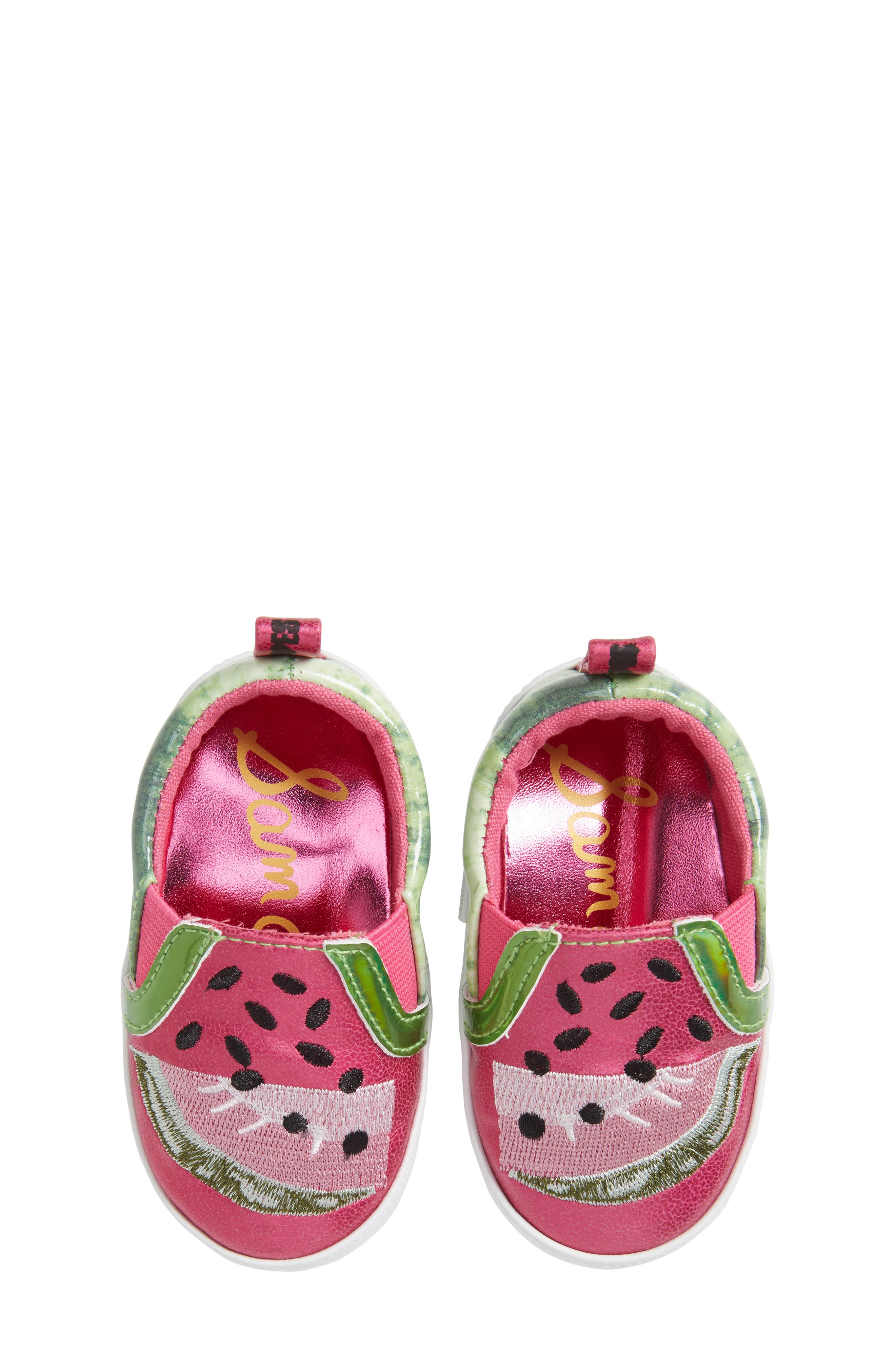 Baby Blane Watermelon Sneaker,                             Main thumbnail 1, color,                             Fuchsia Faux Leather