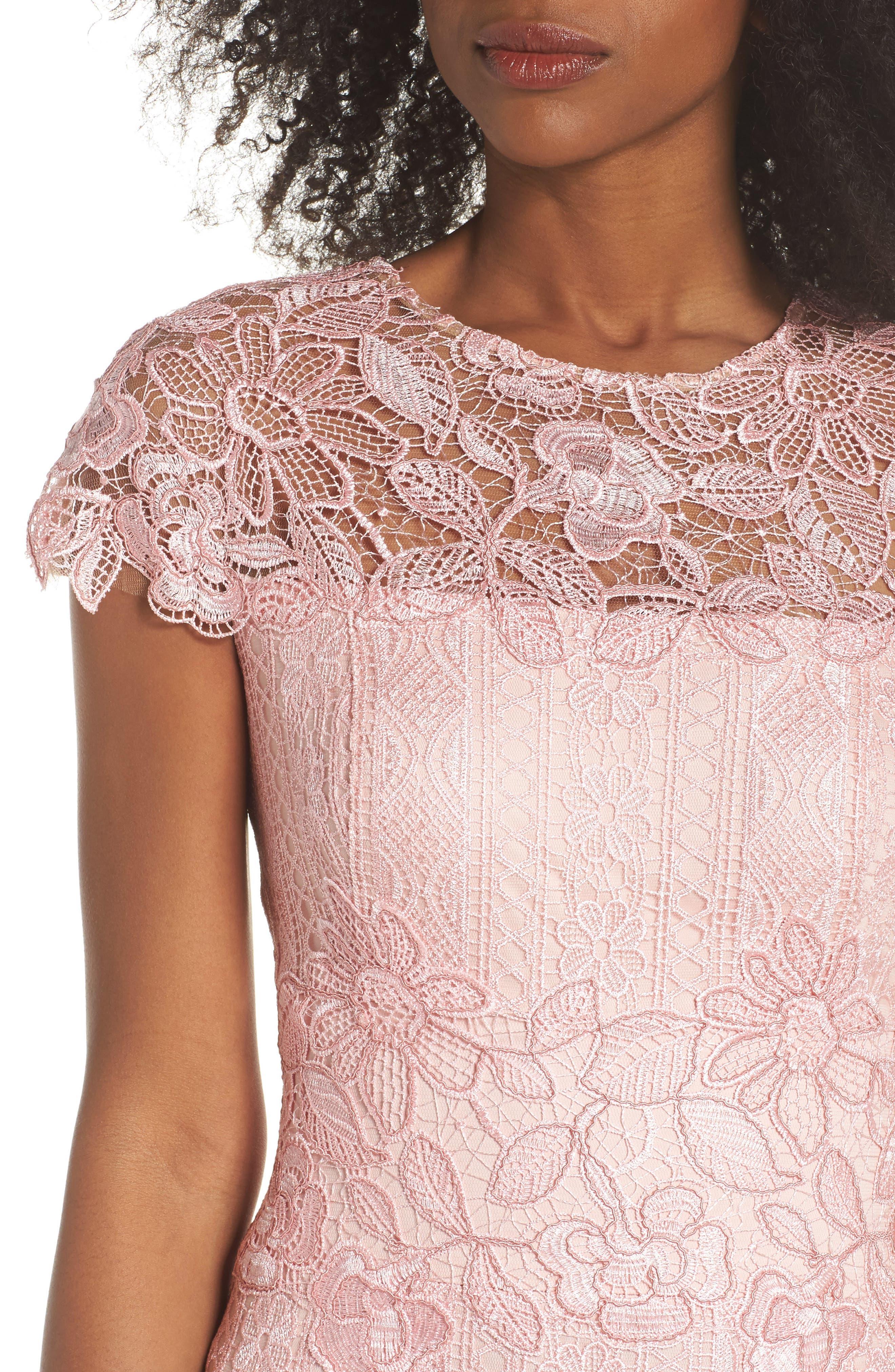 Alice Flounce Hem Lace Dress,                             Alternate thumbnail 4, color,                             Rose Quartz