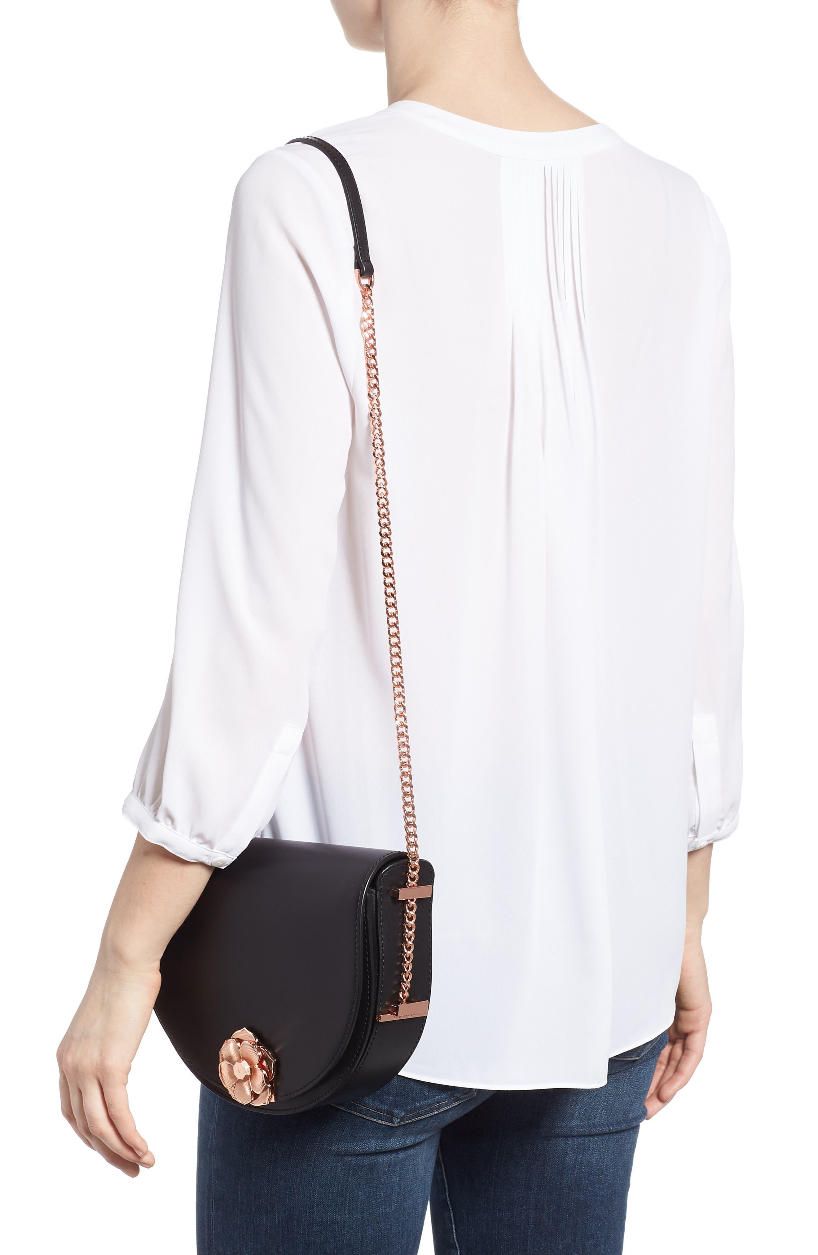 Roslyn Leather Crossbody Bag,                             Alternate thumbnail 2, color,                             Black