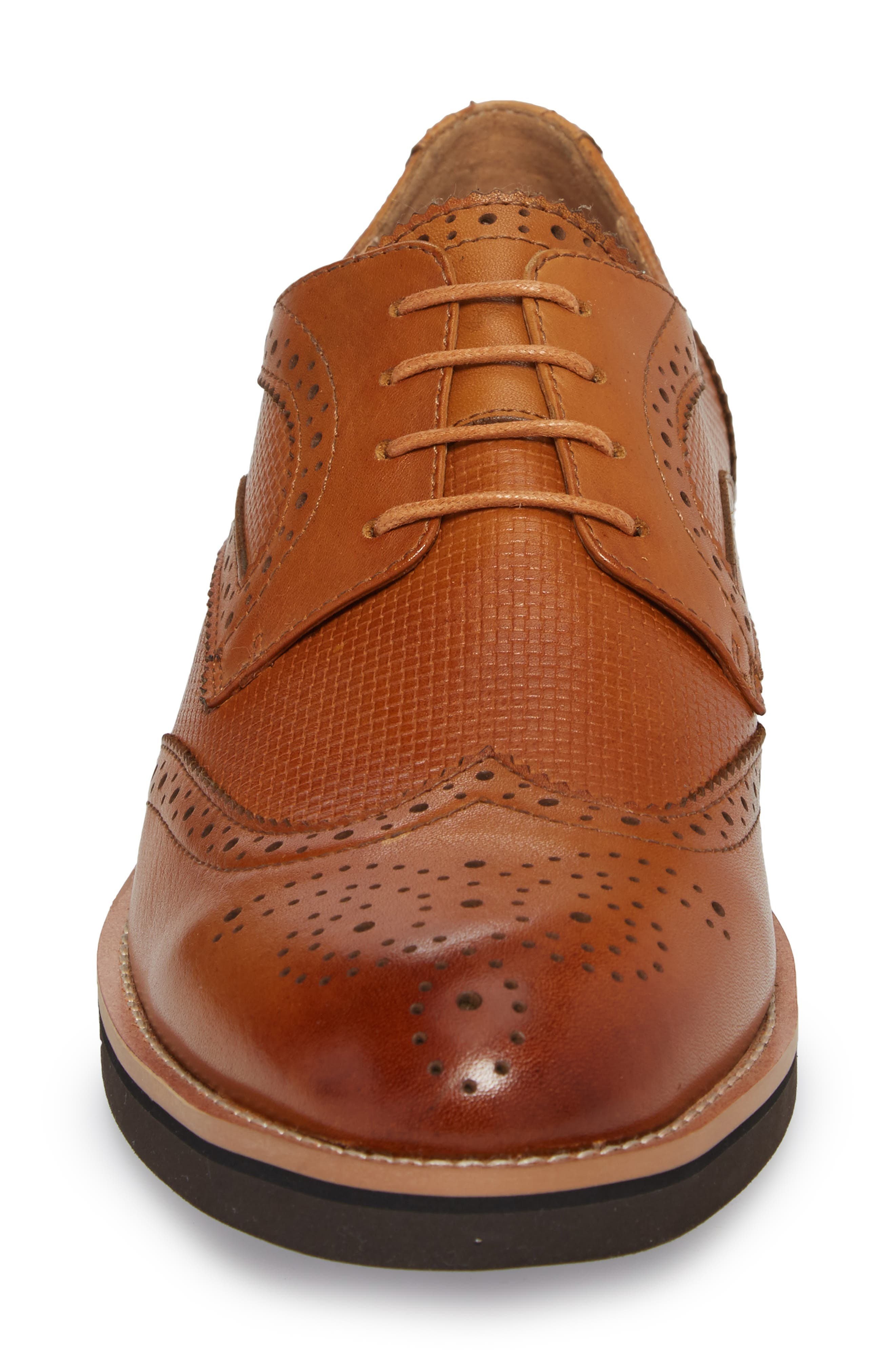 Cleave Embossed Wingtip,                             Alternate thumbnail 4, color,                             Cognac Leather