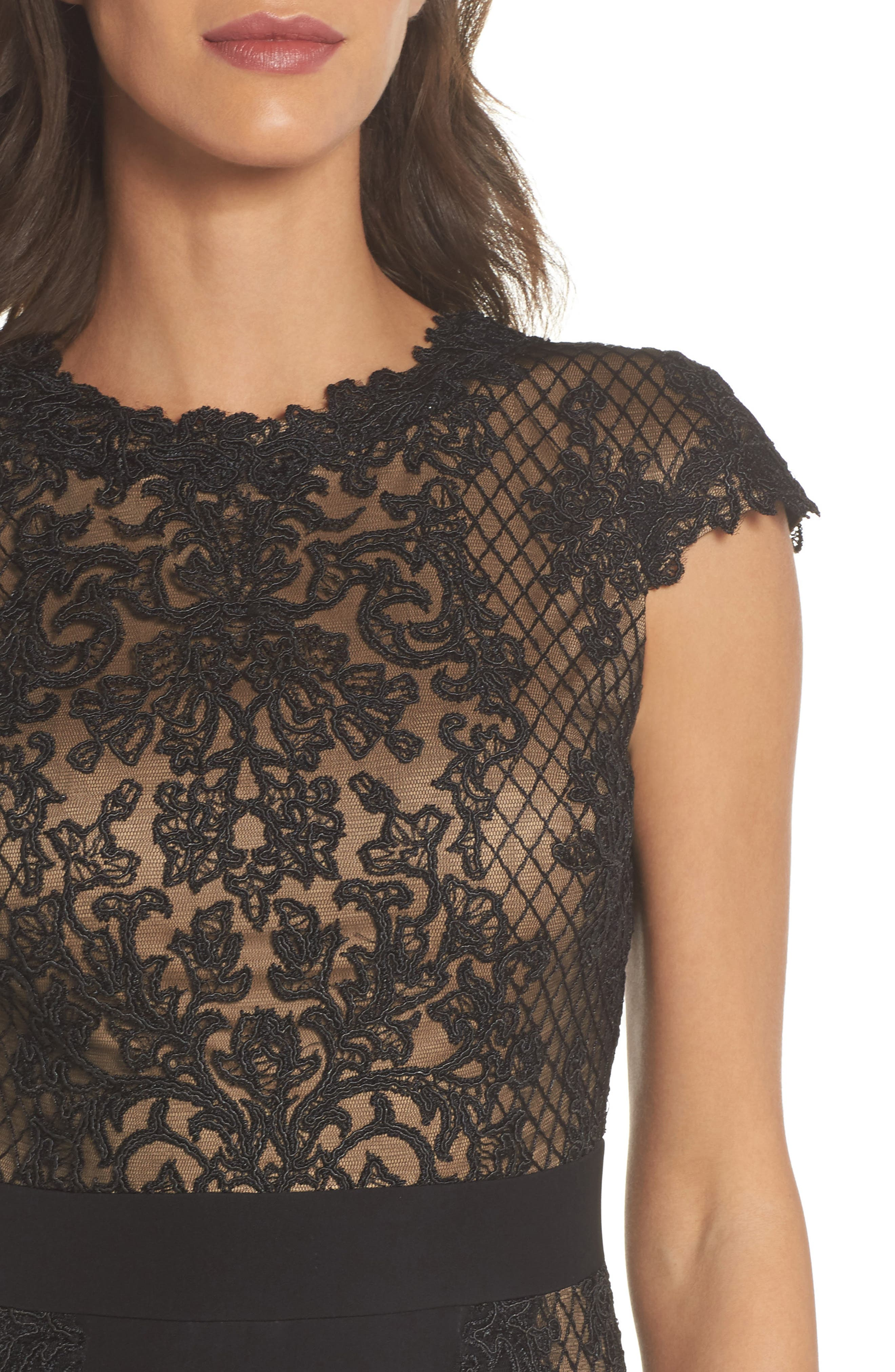 Lace Gown,                             Alternate thumbnail 4, color,                             Black/ Nude
