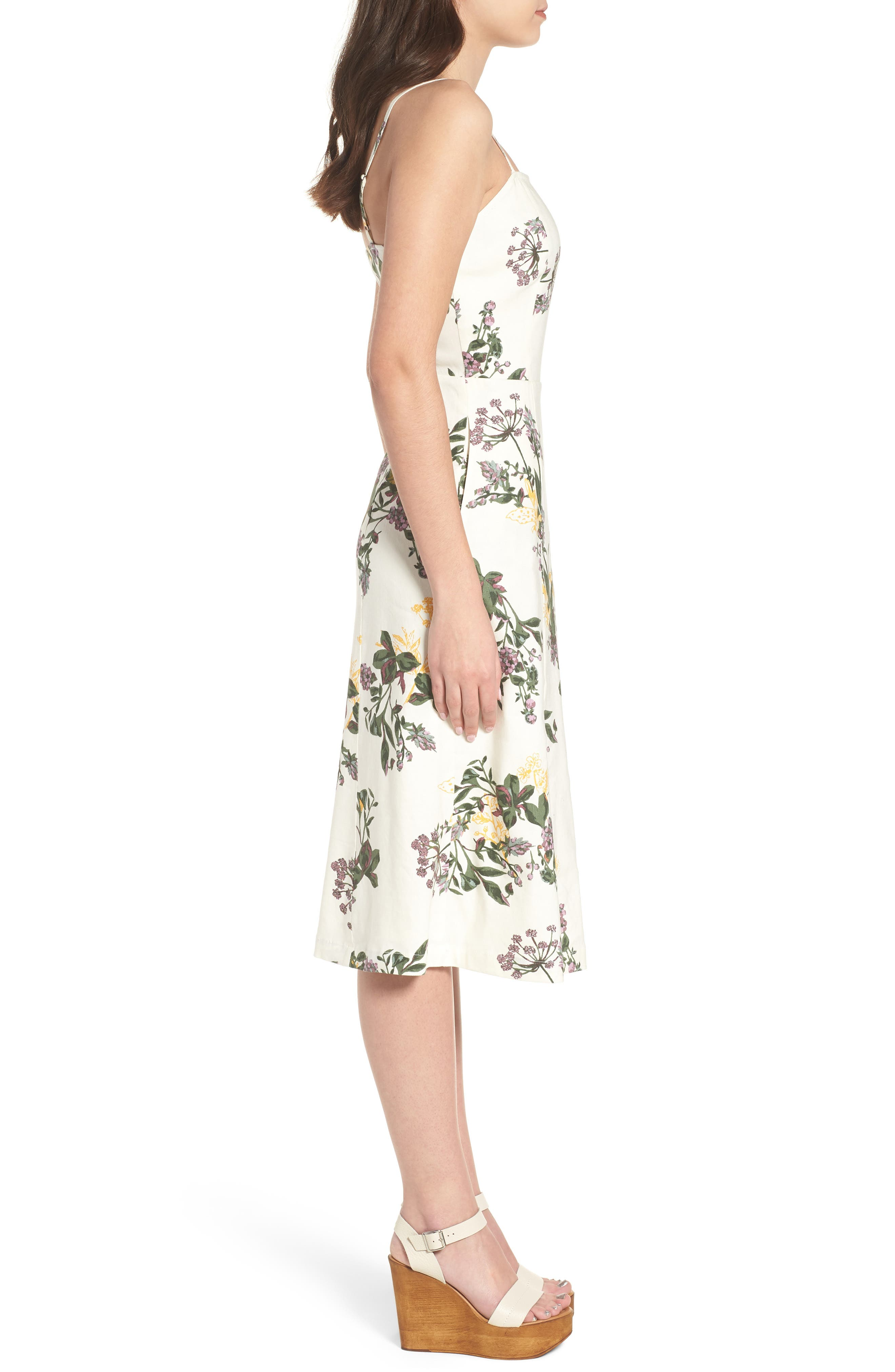 Floral Print Midi Dress,                             Alternate thumbnail 3, color,                             Ivory Ghost Floral