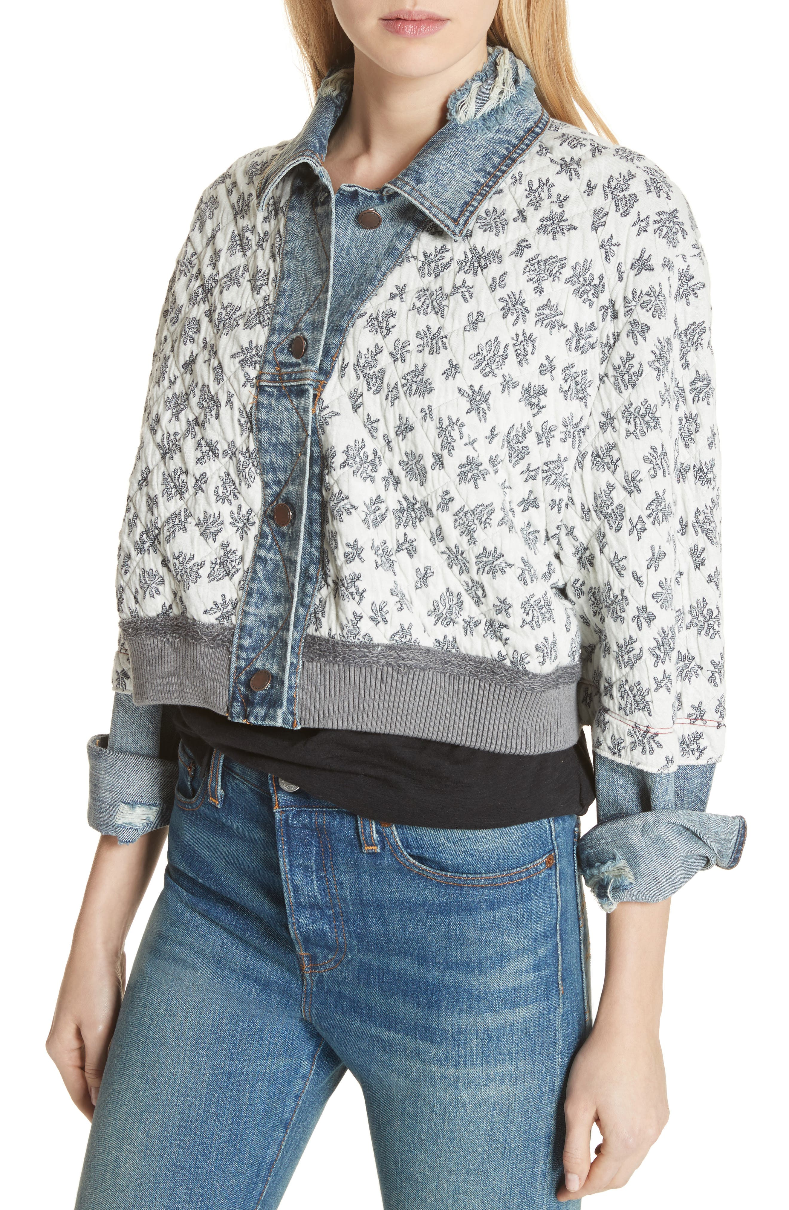 Ditsy Denim Jacket,                             Alternate thumbnail 4, color,                             Blue