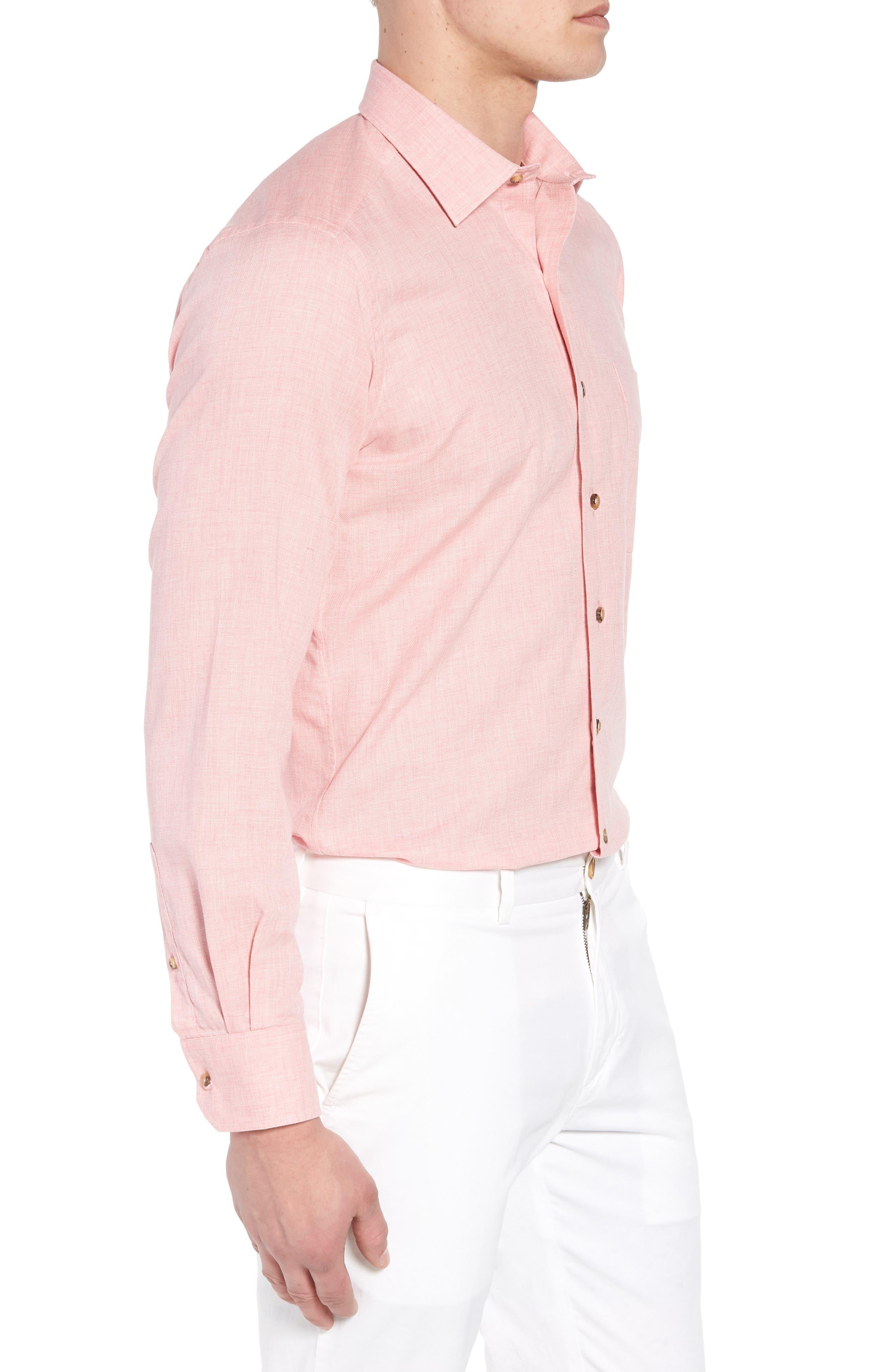 Regular Fit Garment Washed Mélange Sport Shirt,                             Alternate thumbnail 3, color,                             Pink